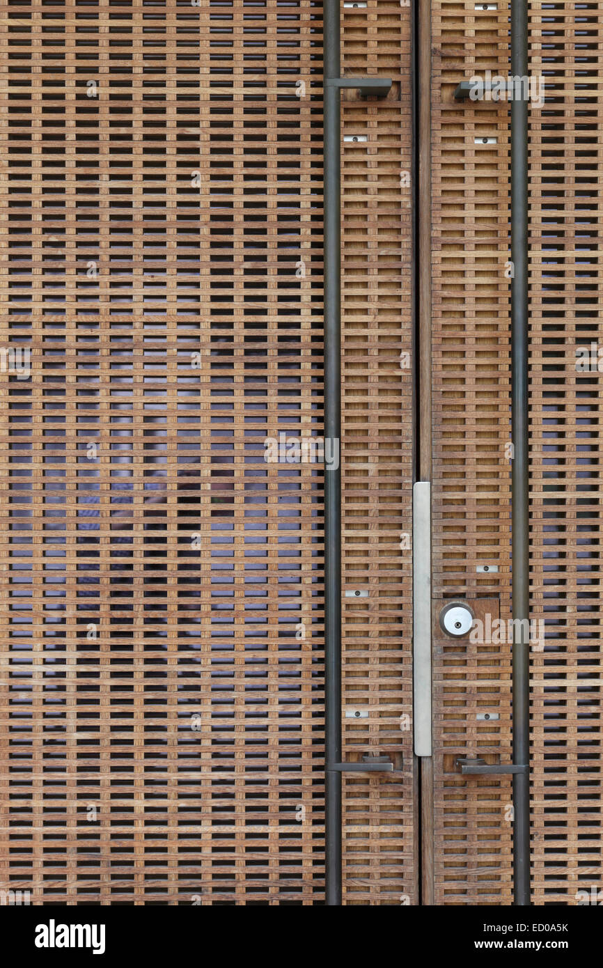 Viikki Church, Helsinki, Finland. Architect: JKMM Architects, 2005. Detail of main exterior doors. - Stock Image