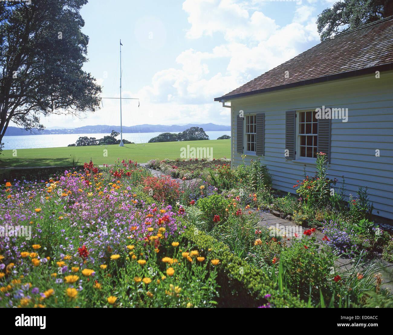 The Treaty House and gardens, Waitangi Treaty Grounds, Waitangi, Bay of Islands, Northland Region, North Island, Stock Photo