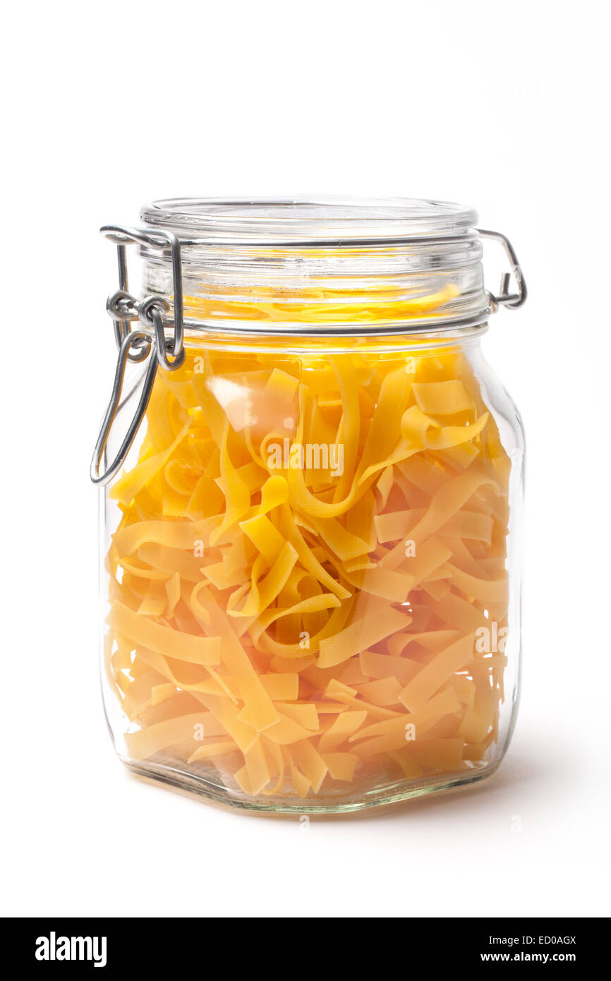 Typical italian food pasta in a jar isolated on white. - Stock Image