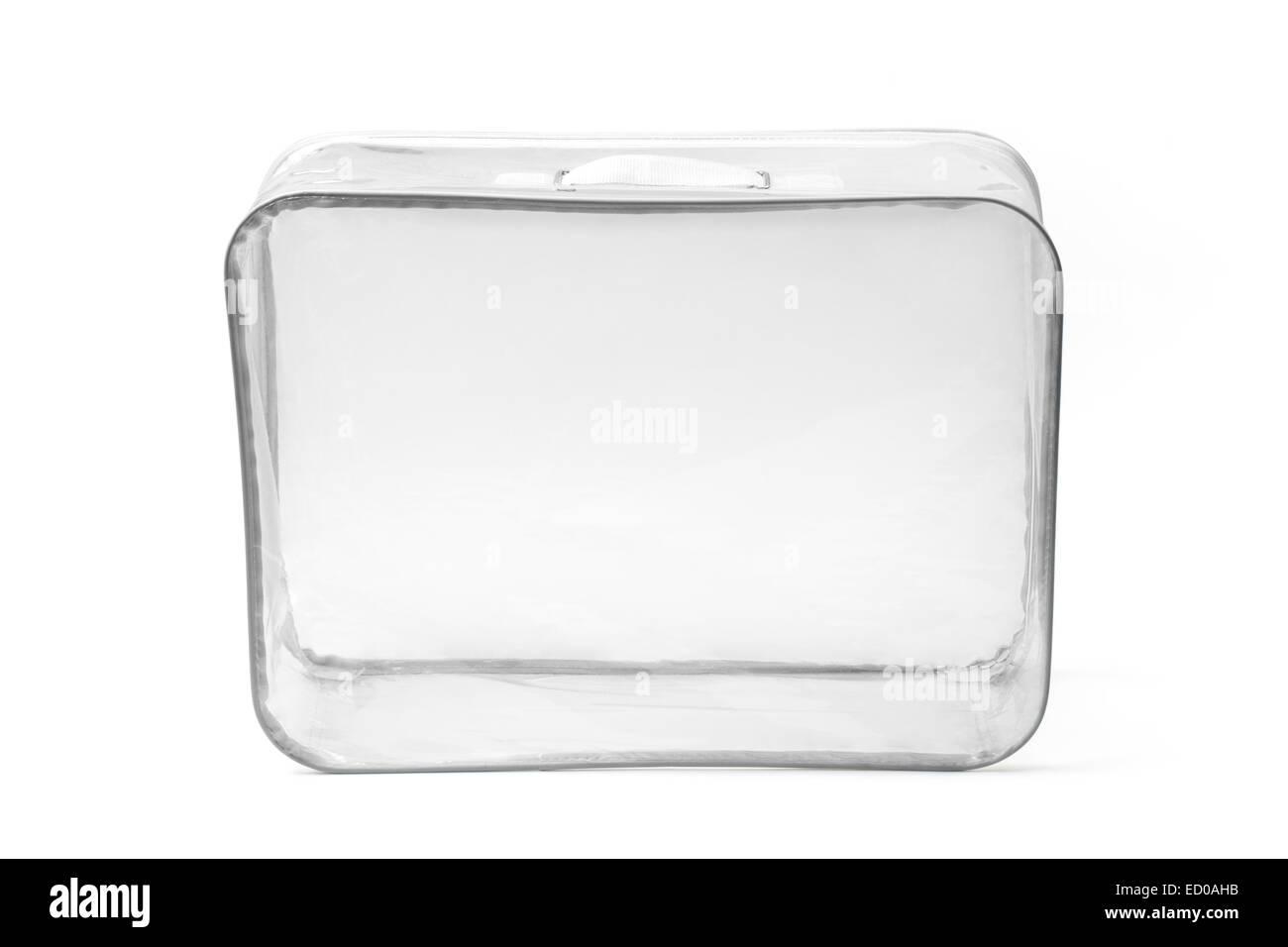 Empty transparent suitcase isolated on white background. - Stock Image