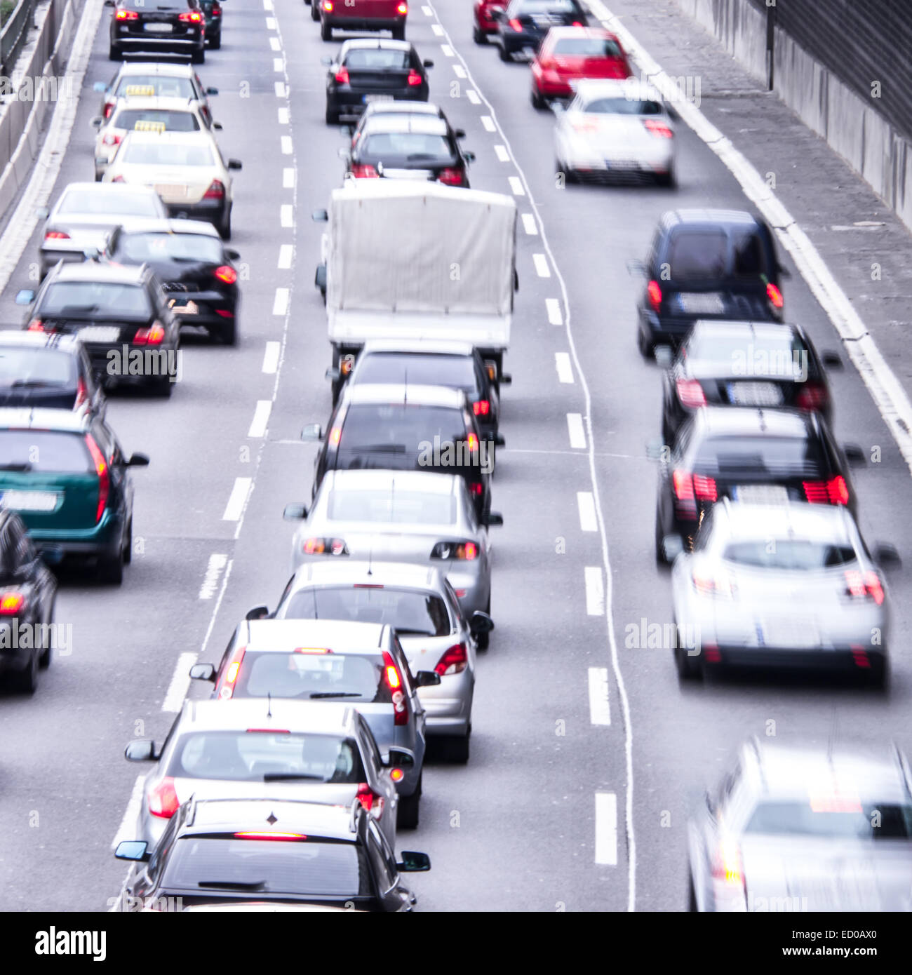 congestion on a higway on rush hour time - Stock Image