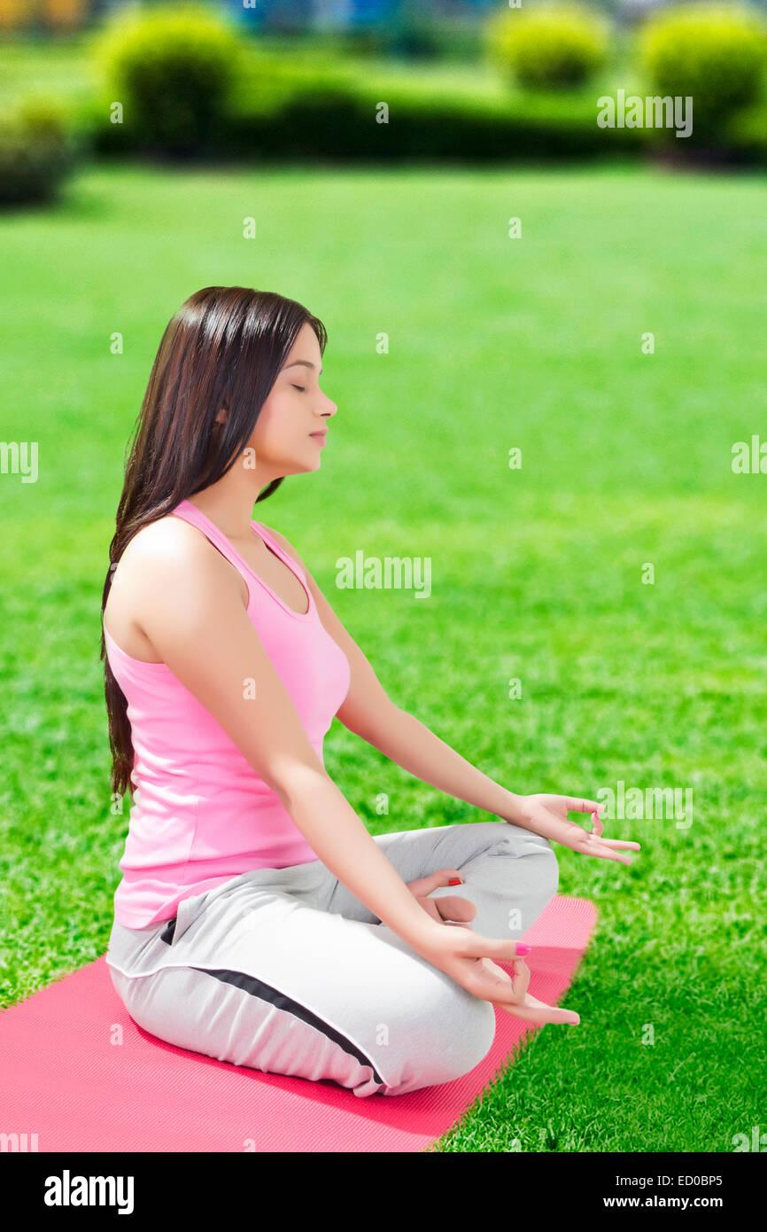 Indian Lady Yoga Meditation Stock Photo Alamy