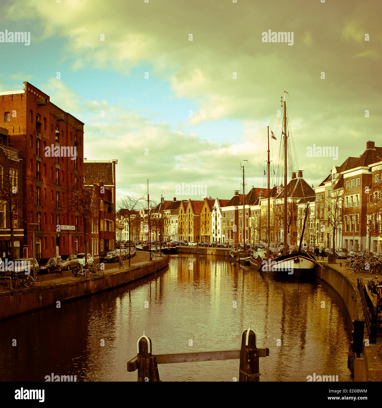 Netherlands, Groningen, Hoge der Aa, River in city - Stock Image