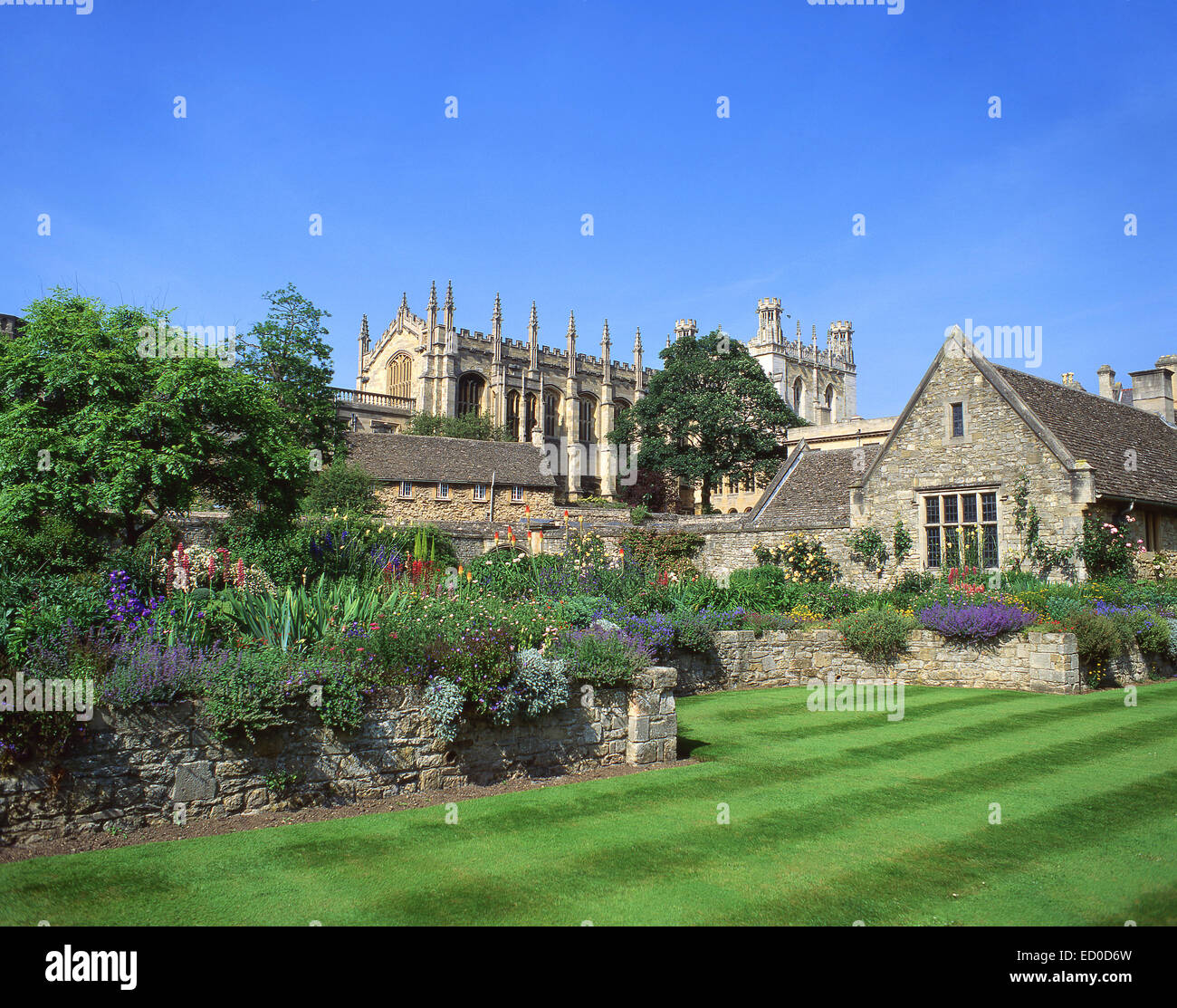 Christ Church College from War Memorial Gardens, Oxford, Oxfordshire, England, United Kingdom - Stock Image