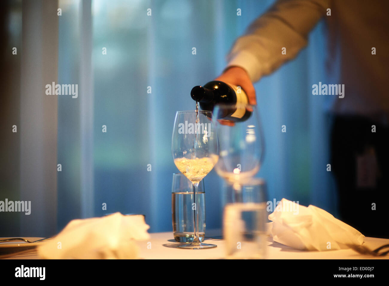 Cropped shot of man in room pouring white wine in wineglass - Stock Image