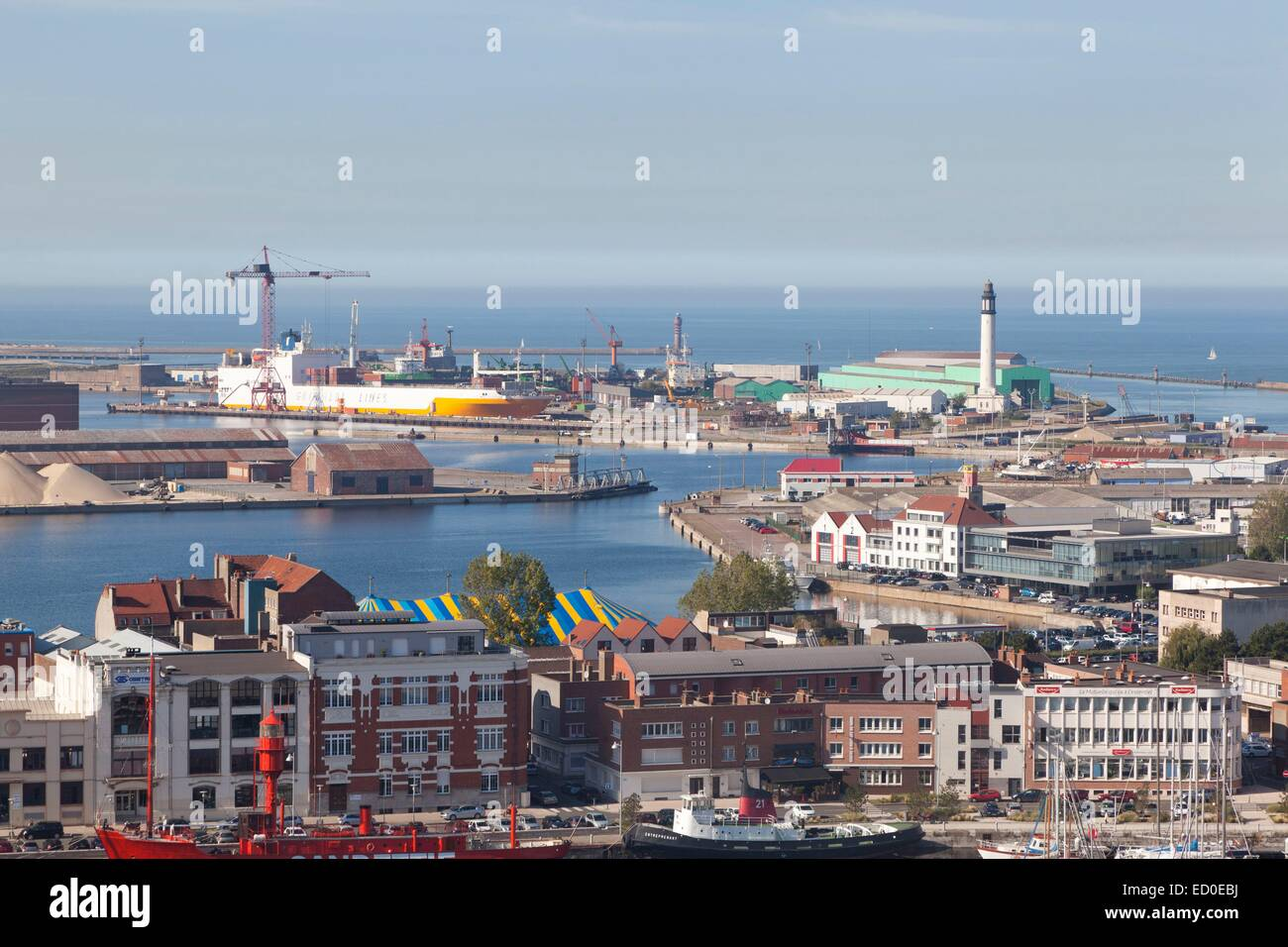 France, Nord, Dunkirk, view of the industrial port and lighthouse Stock Photo