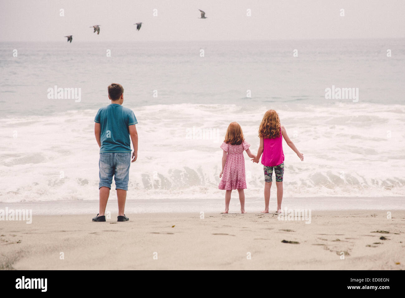USA, California, Los Angeles, Children (6-7, 8-9, 12-13) watching waves breaking on beach - Stock Image