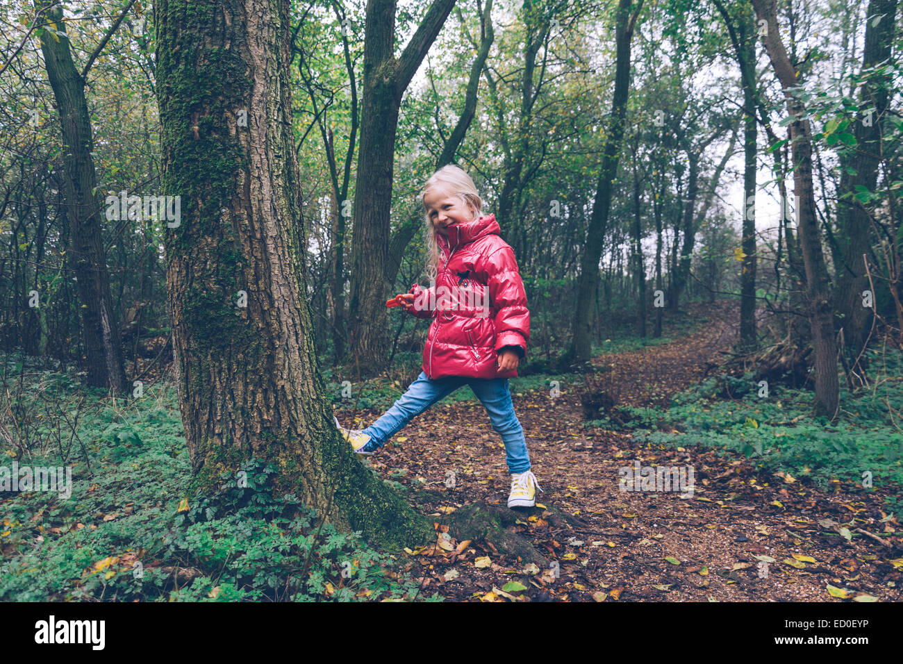 Girl messing about in the woods, Ritthem, Zeeland, Holland - Stock Image