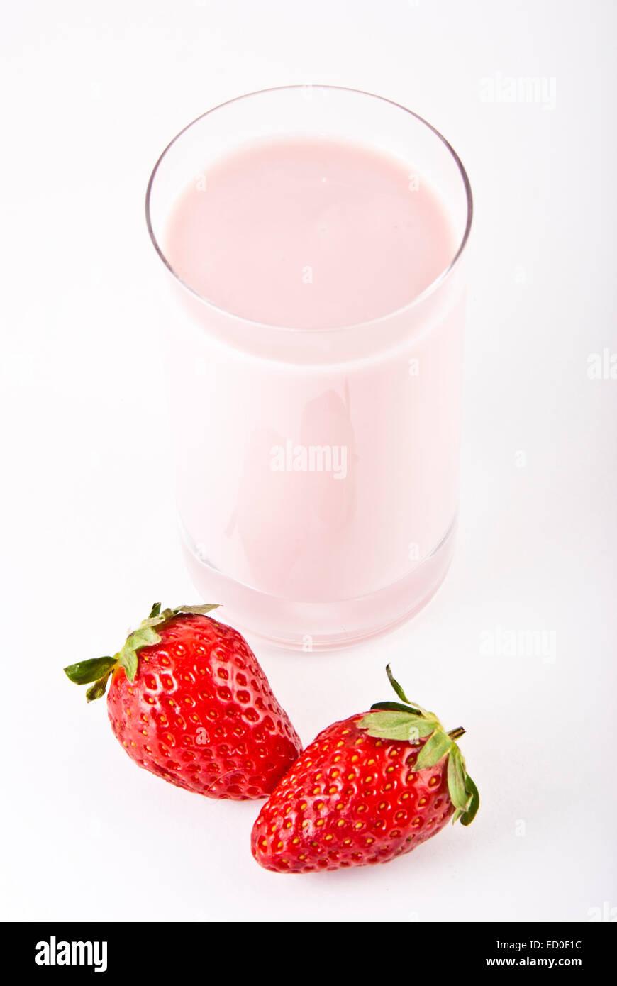 strawberries milk shake - Stock Image