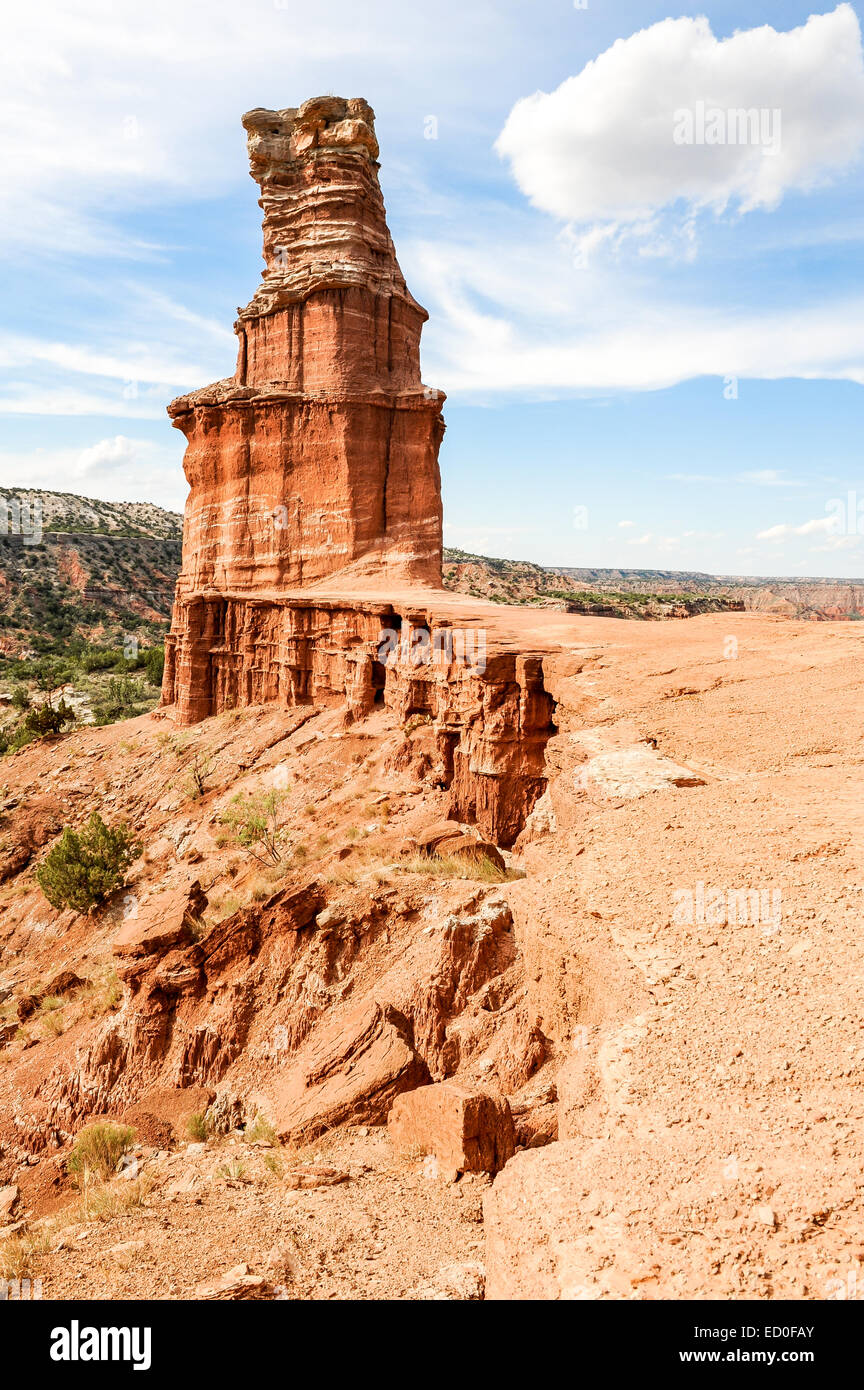USA, Texas, Palo Duro Canyon, Rock formation called Lighthouse - Stock Image