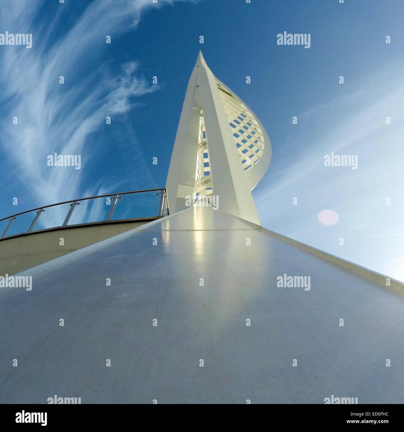 United Kingdom, England, Hampshire, Portsmouth, Upward view of Spinnaker Tower against sky - Stock Image