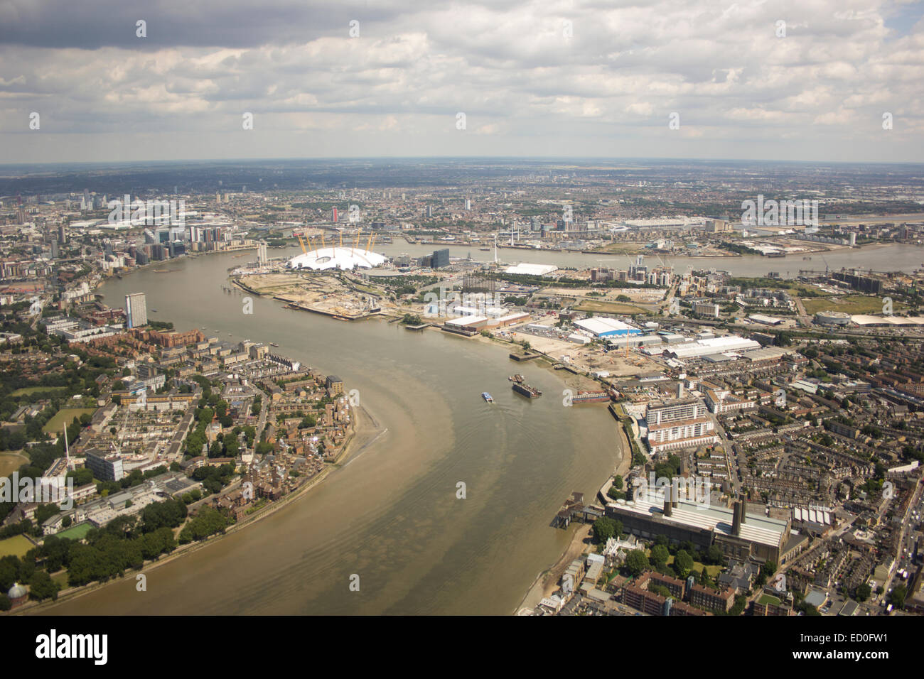 United Kingdom, London, Greenwich, Aerial view of O2 Arena and Greenwich Peninsula - Stock Image