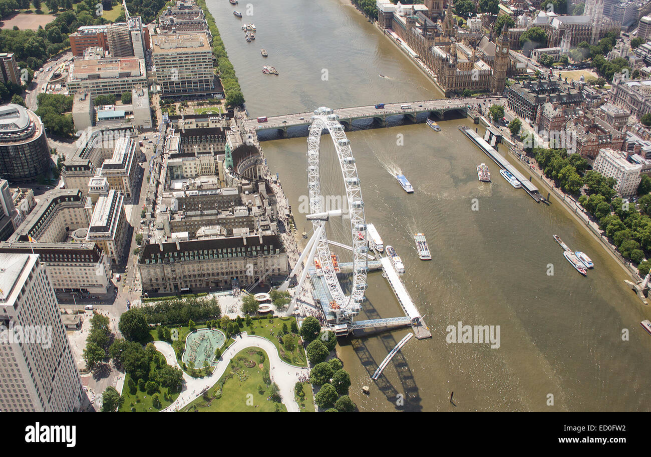United Kingdom, London, Aerial view of River Thames with London Eye and Westminster Bridge - Stock Image