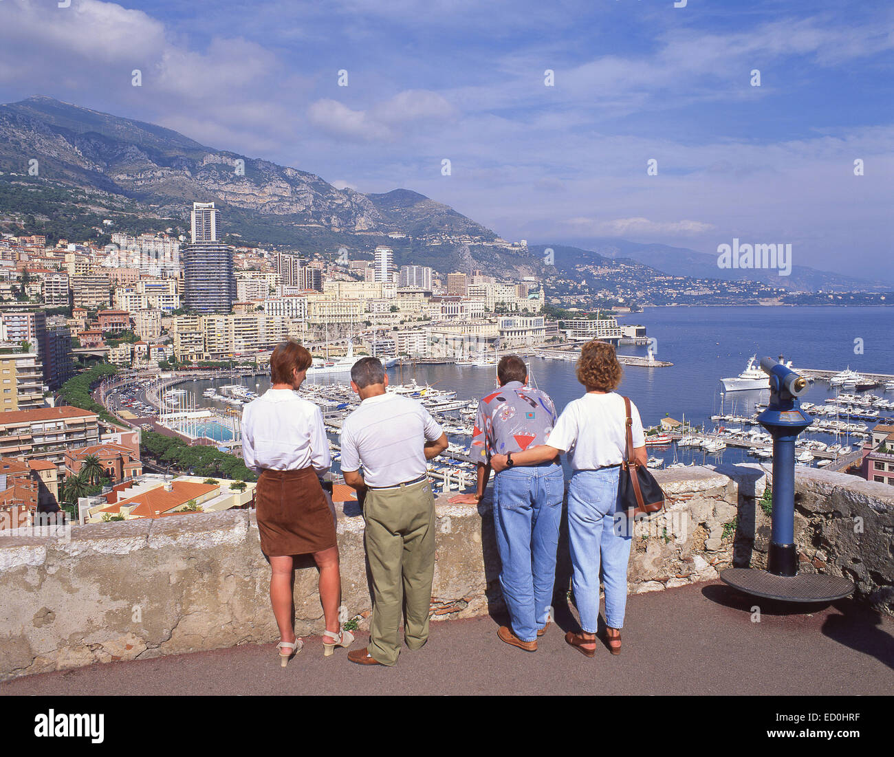 View of harbour and Monte Carlo from La Colle lookout, Principality of Monaco - Stock Image