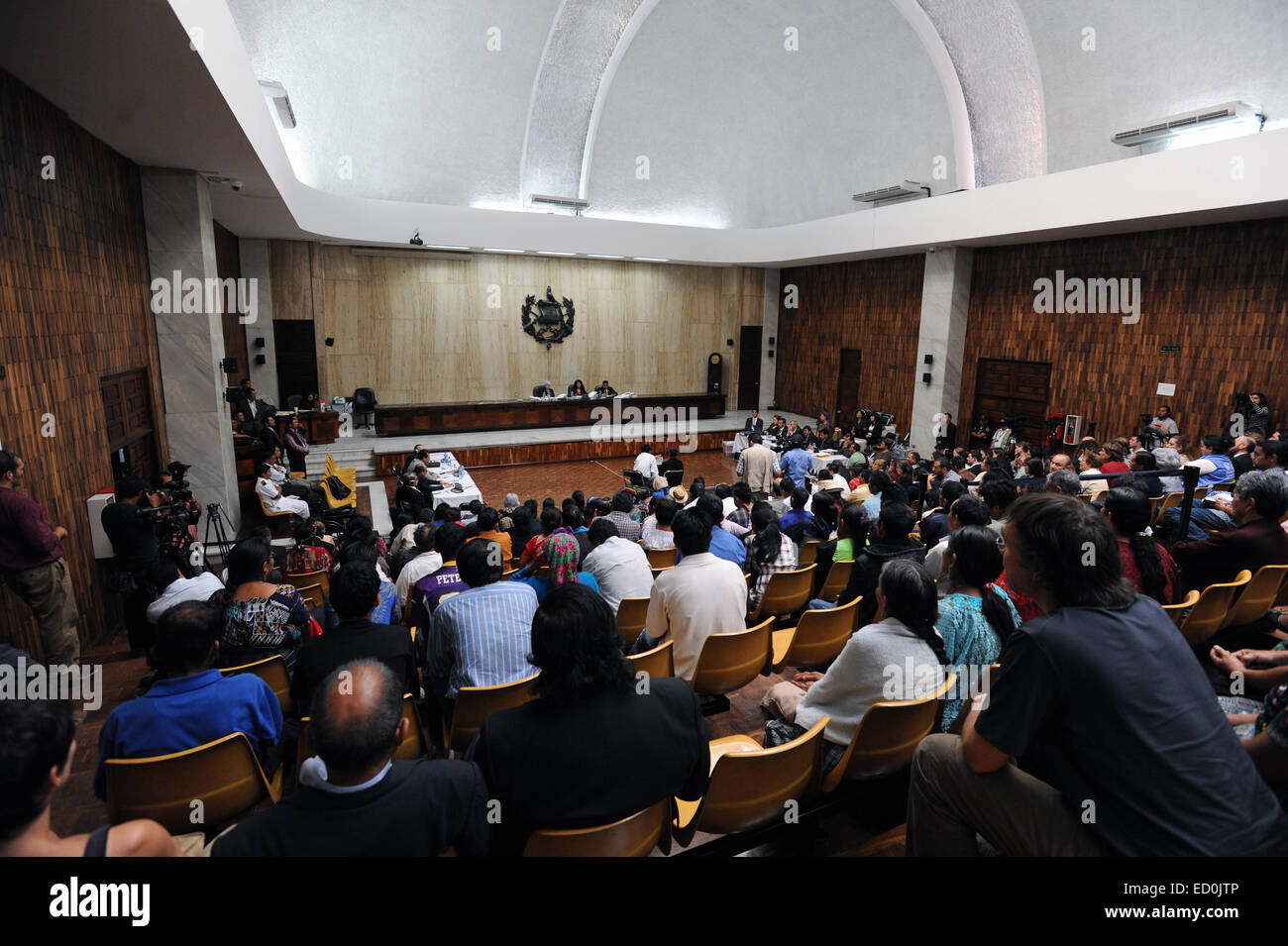 The courtroom of Rios Montt Genocide trial in Supreme Court of Justice in Guatemala City in March 2013. - Stock Image