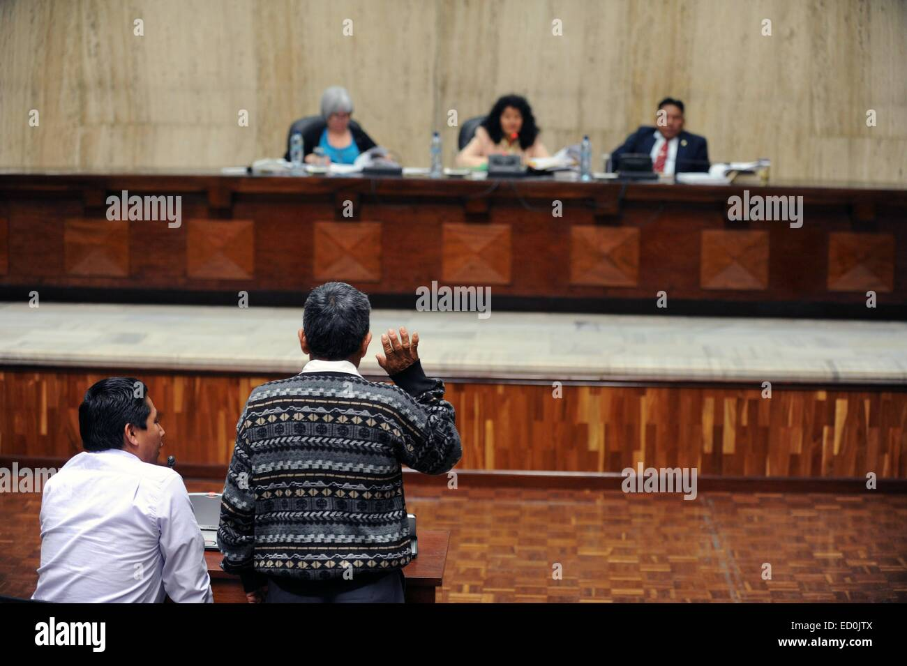 A Maya Ixil man swears during RIos Montt genocide trial In the Supreme Court of Justice Guatemala CIty March 19, - Stock Image