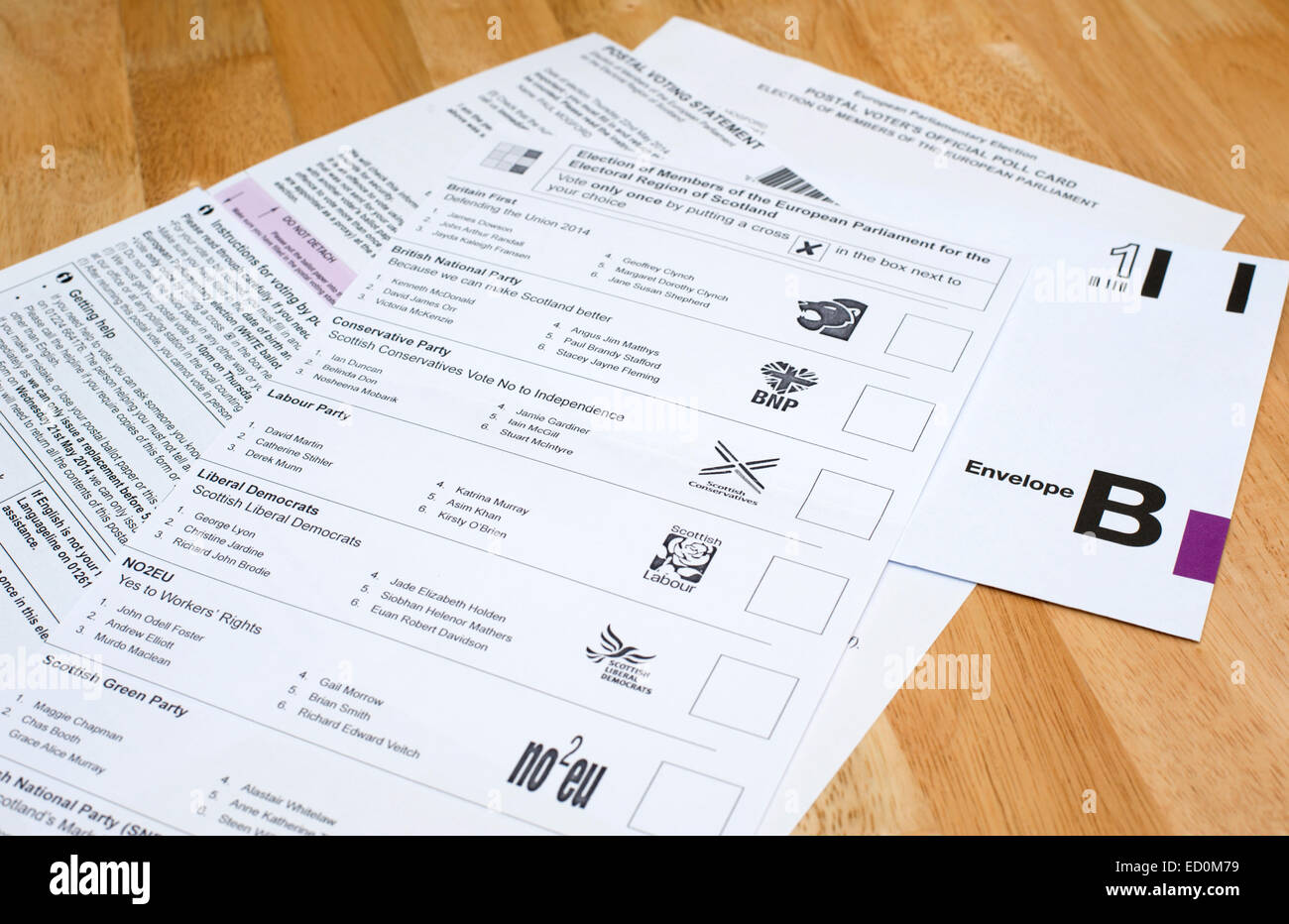 Completing and preparing a postal vote for sending off Stock Photo