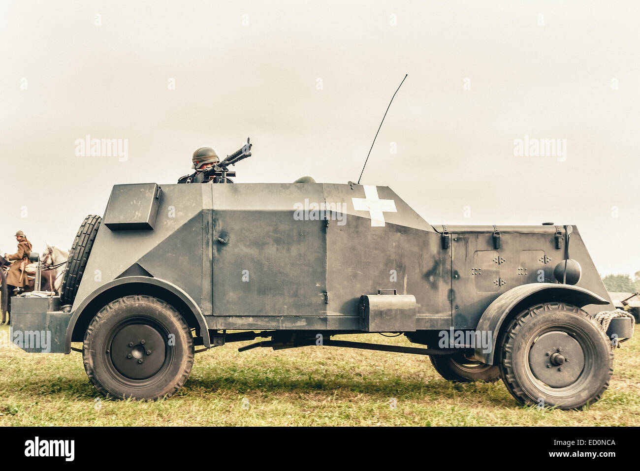 German Adler (MgKw, Kfz. 13) armoured car during WWII Battle of Lomianki - historical reenactment, Poland - Stock Image