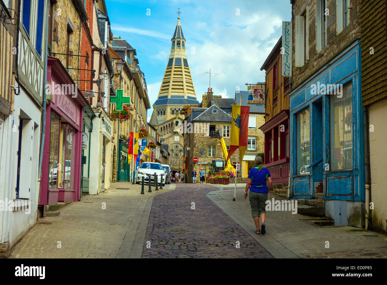 narrow street with conical church tower domfront normandy france stock photo 76849477 alamy. Black Bedroom Furniture Sets. Home Design Ideas