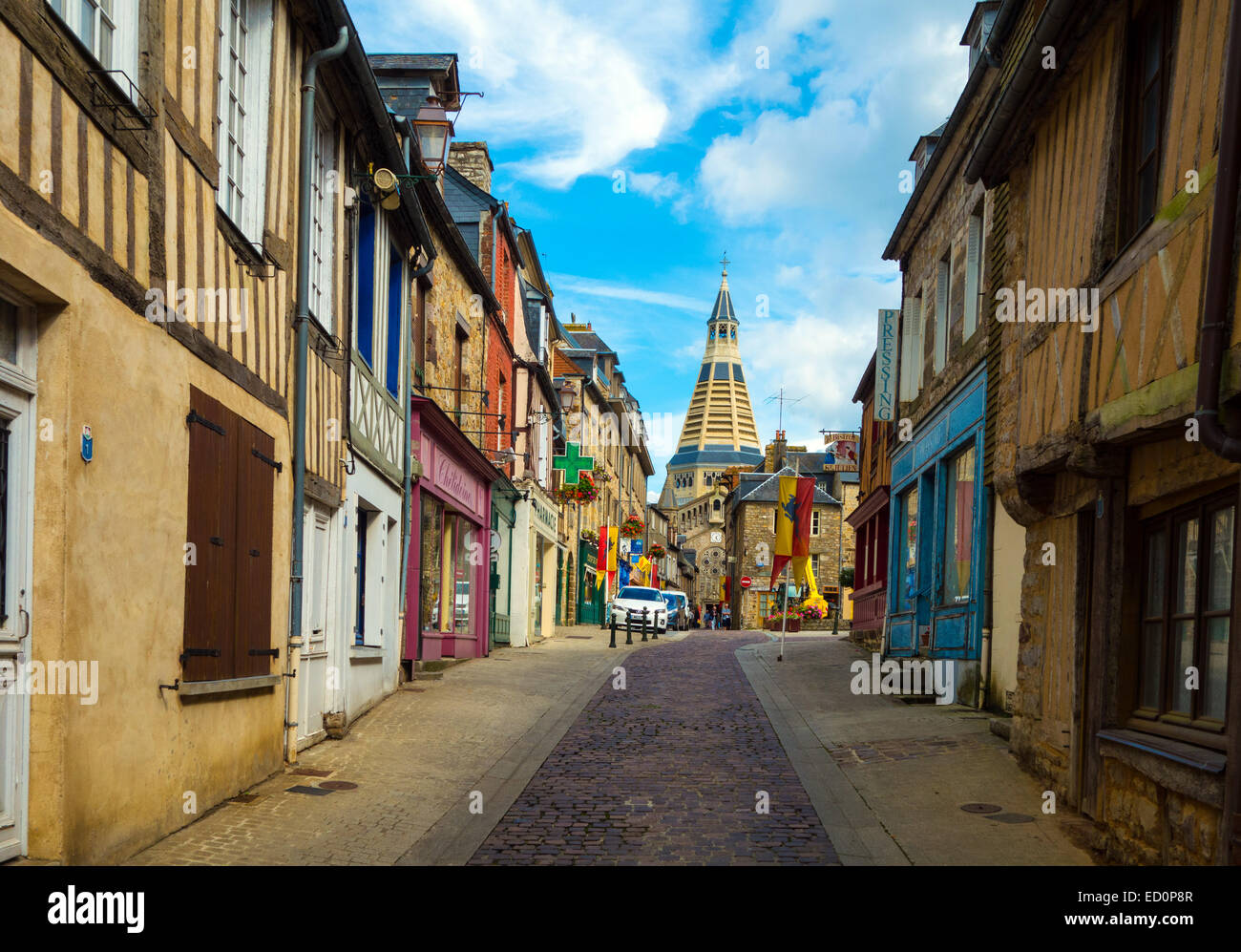 narrow street with conical church tower domfront normandy france stock photo 76849495 alamy. Black Bedroom Furniture Sets. Home Design Ideas