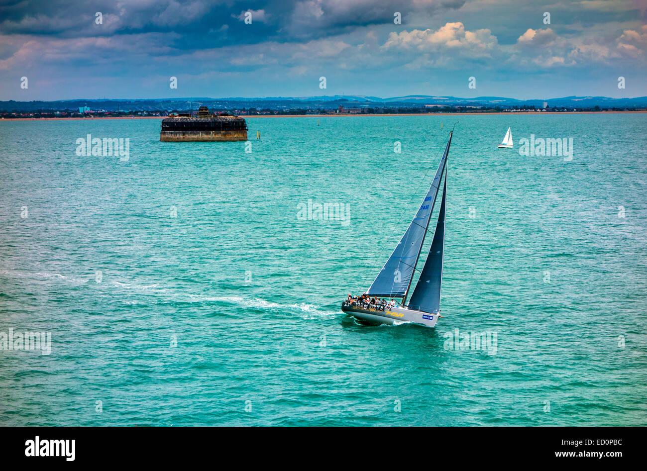 Large racing yachts sailing in the Solent Portsmouth - Stock Image