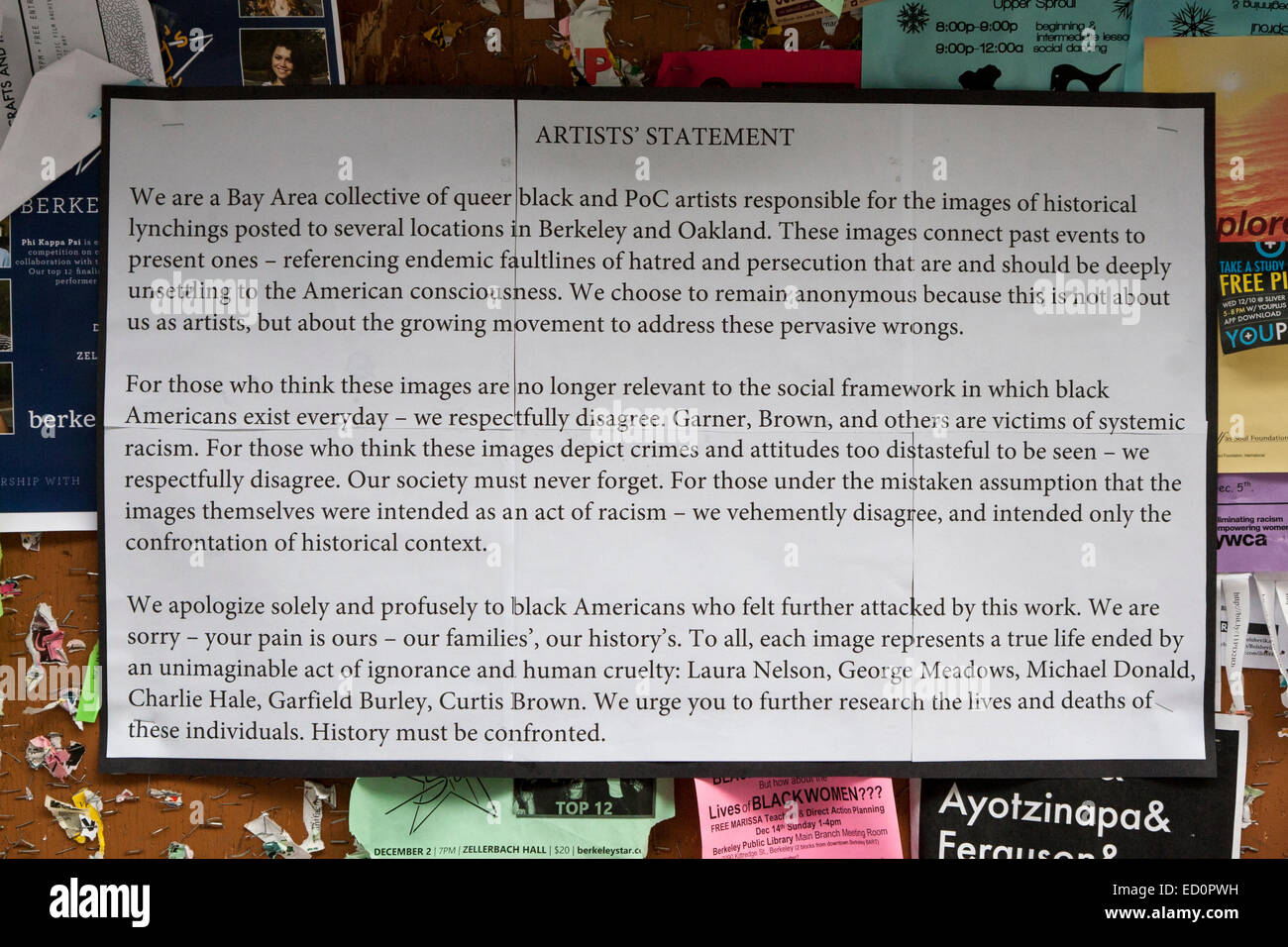 Artist statement from the artists who created the lynching artworks on the Cal Berkeley campus. - Stock Image