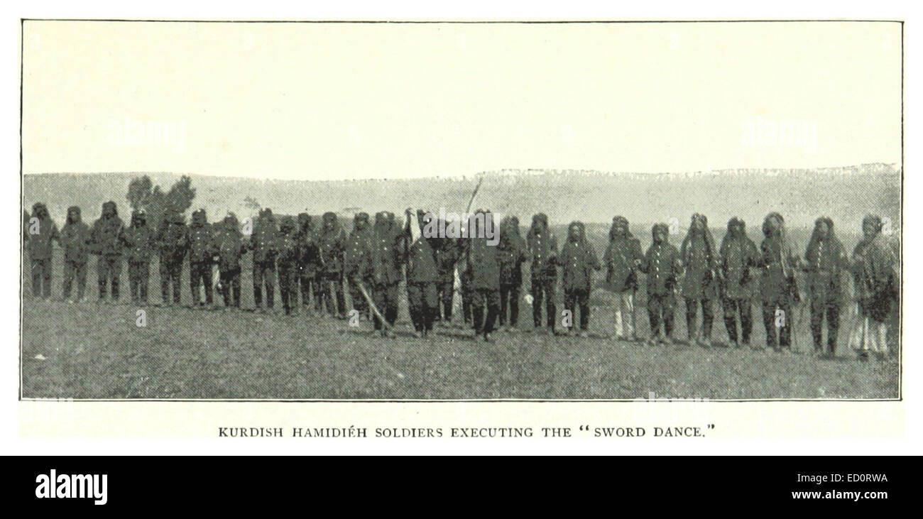 G1895 pg155 KURDISH HAMIDIEH SOLDIERS EXECUTING THE SWORD DANCE - Stock Image