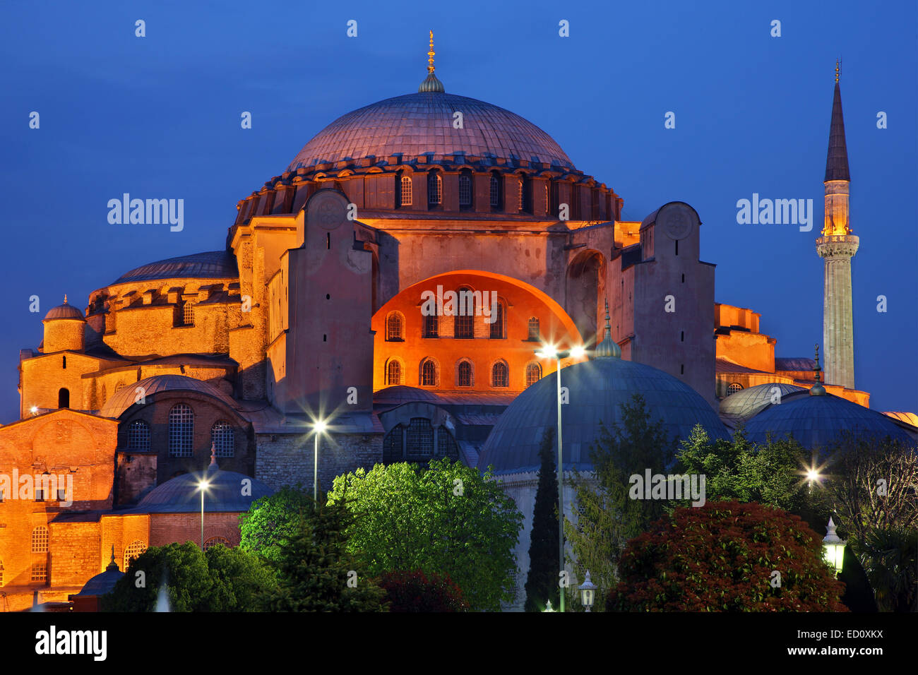 Hagia Sophia in the blue hour, Istanbul, Turkey - Stock Image