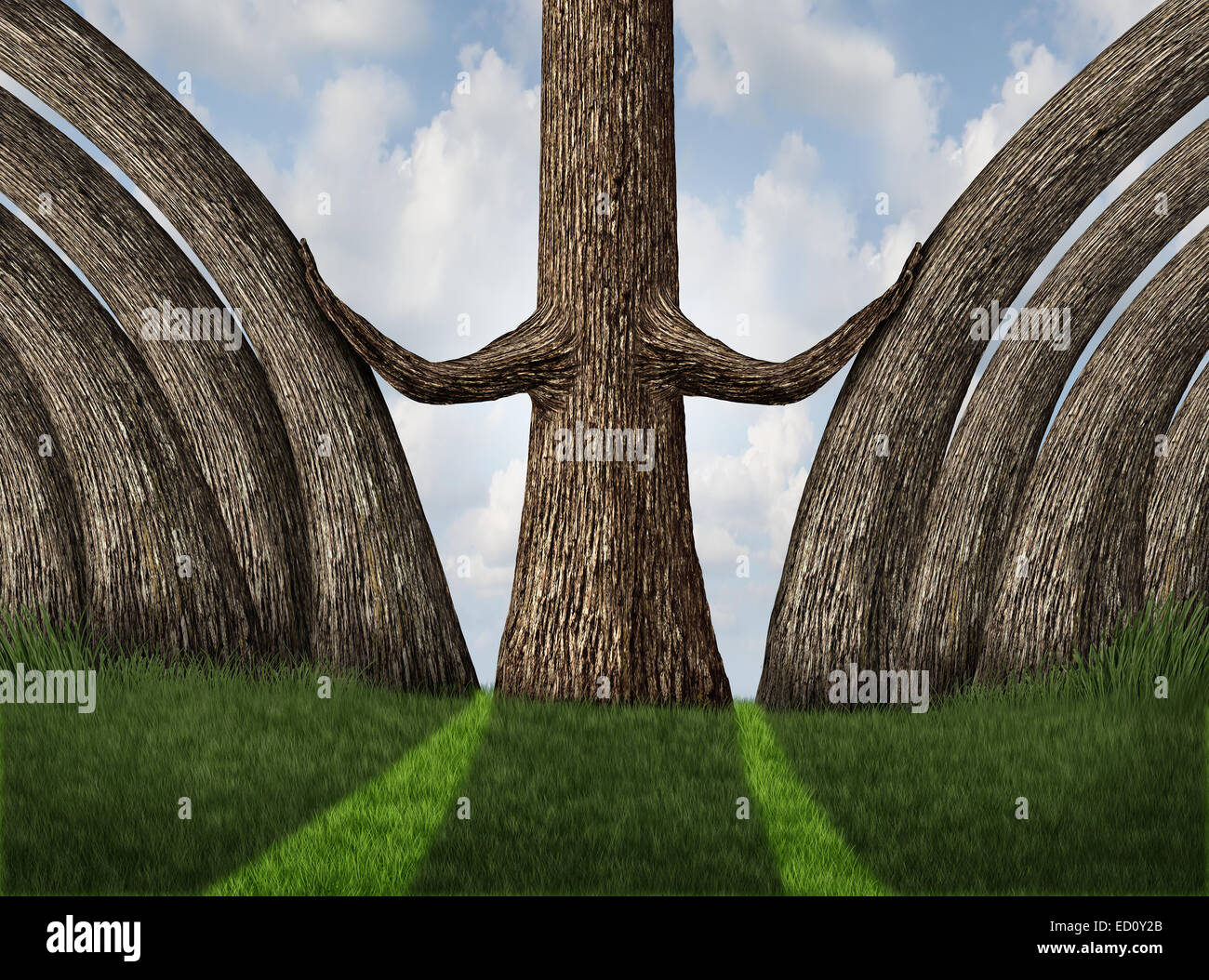 Pushing out the competition as a career and ambition business concept as a metaphor with a powerful tree moving - Stock Image