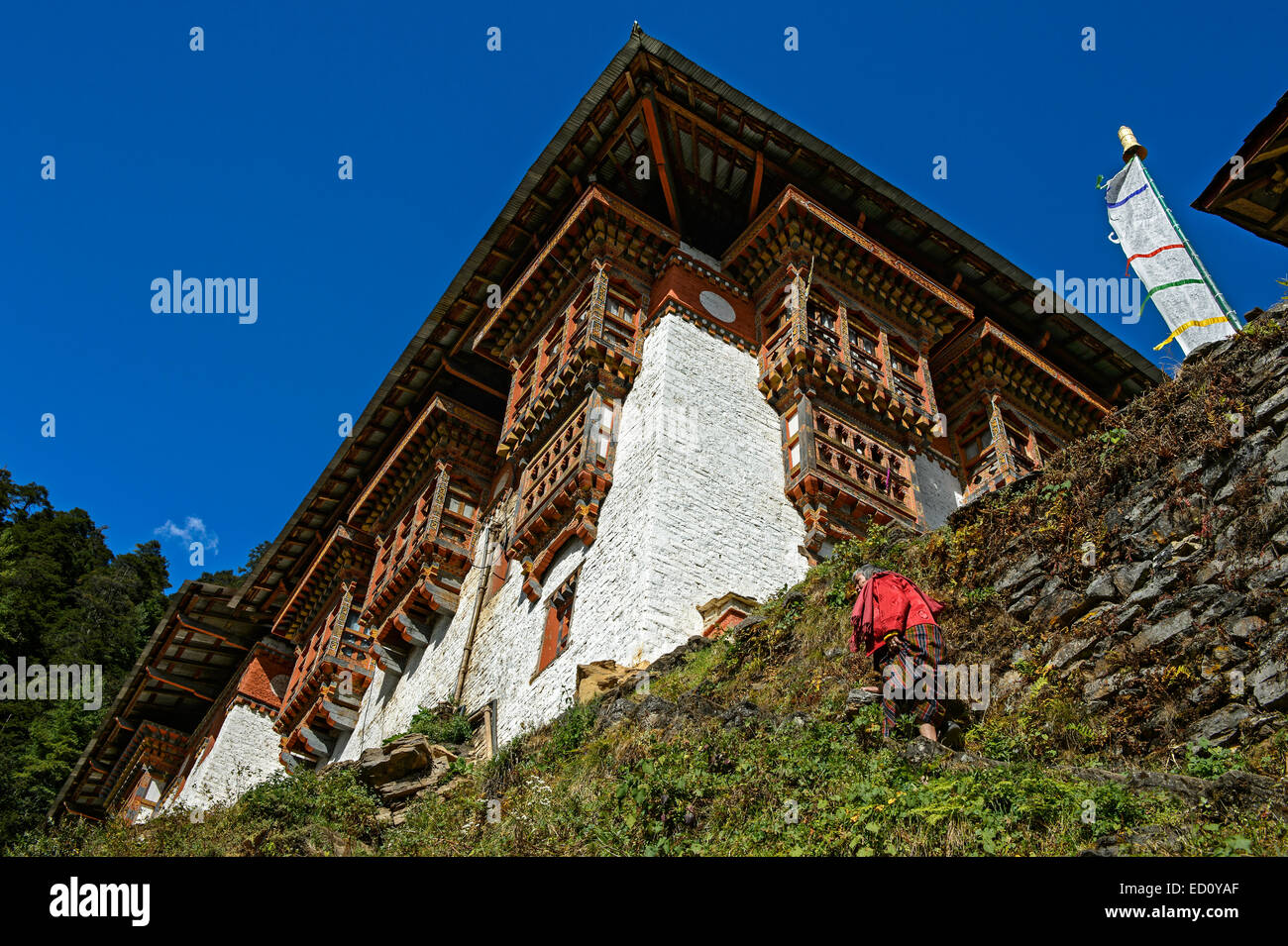 Female pilgram on the way to the Tango Monastery, Bhutan - Stock Image