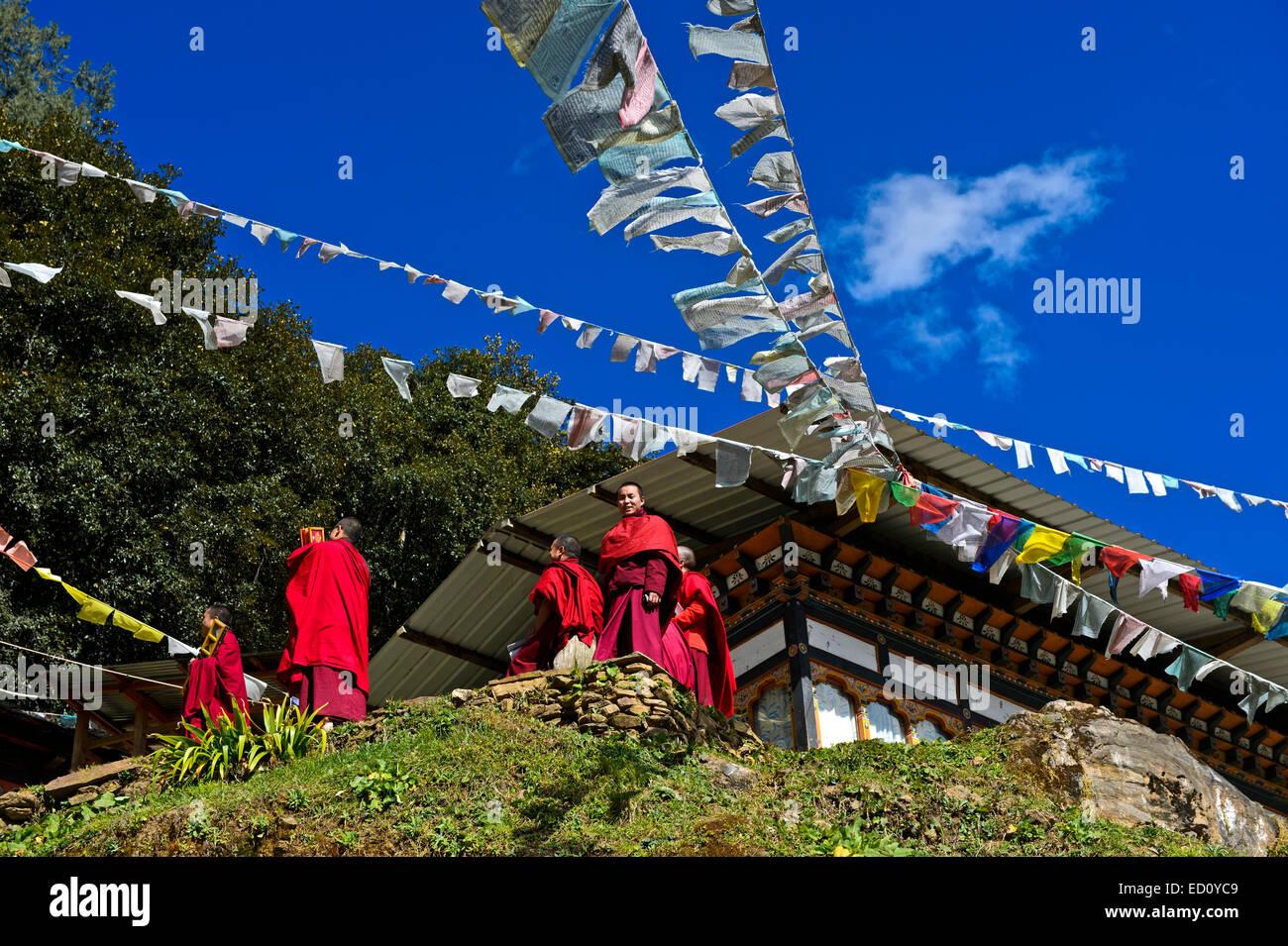 Students of the Tango Buddhist Institute, Tango Monastery, Bhutan - Stock Image