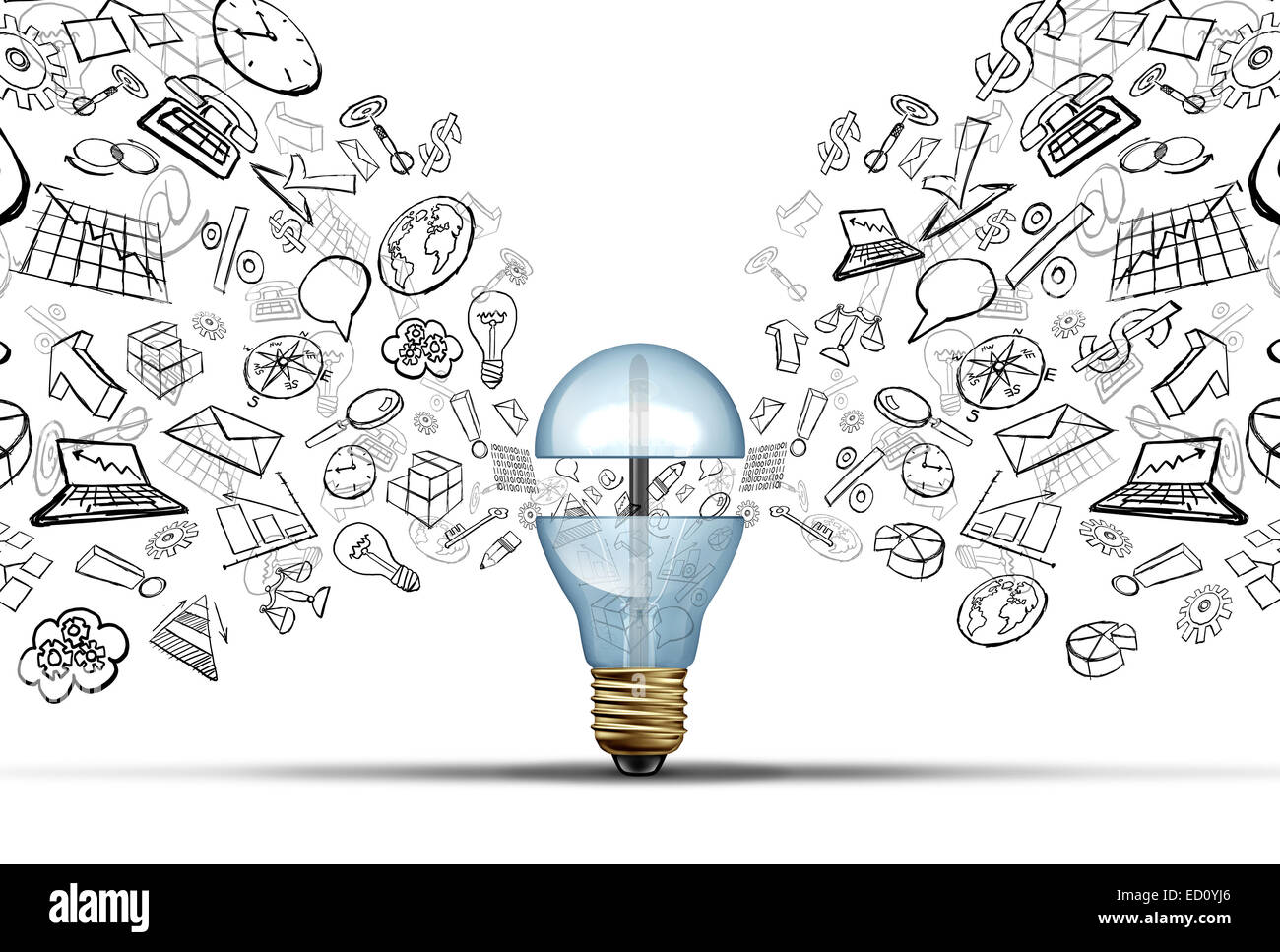 Business innovation ideas concept as an open light bulb with financial and office icons being released as a communication - Stock Image