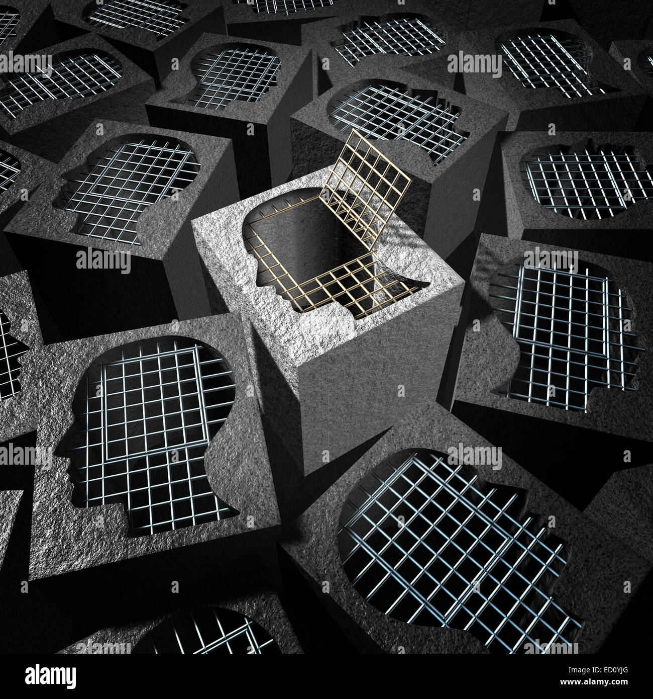 Independent thinking and open mind concept as a freedom metaphor for an  innovative thinker as a cement prison with - Stock Image