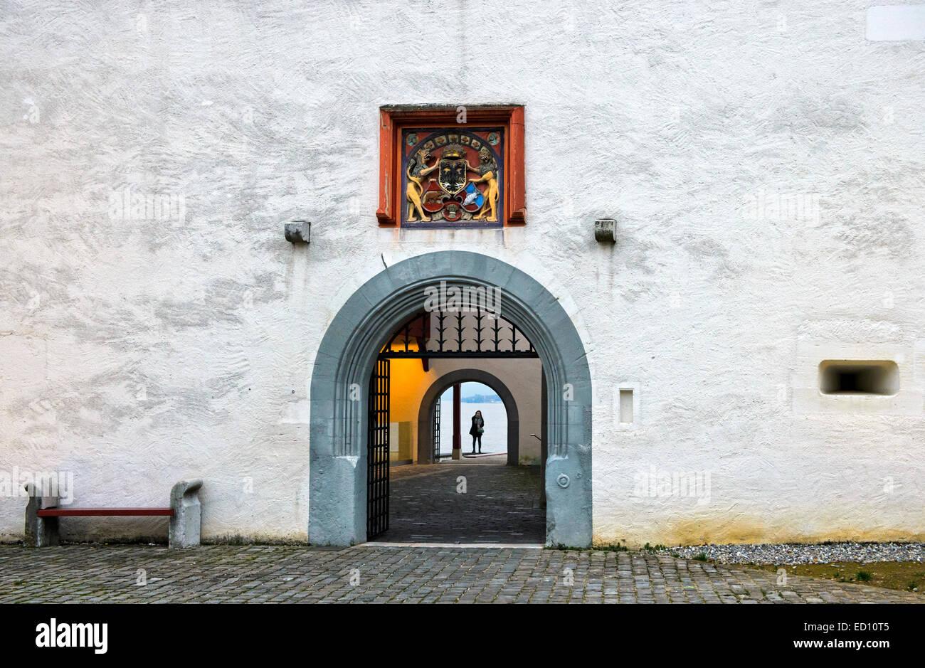 Portal of the Nyon castle, Château de Nyon, Nyon, Vaud, Switzerland - Stock Image