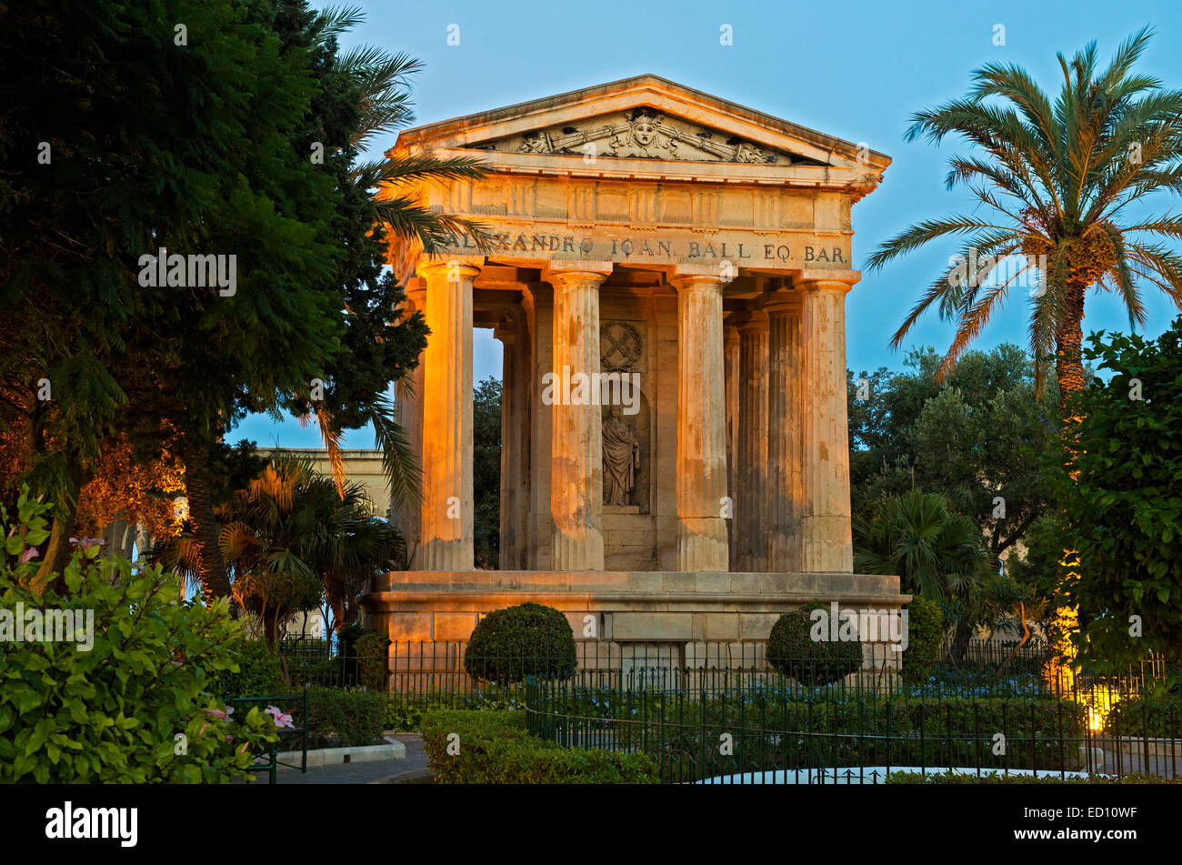 Monument to Alexander Ball in the Lower Barracca Gardens, Valletta, Malta - Stock Image