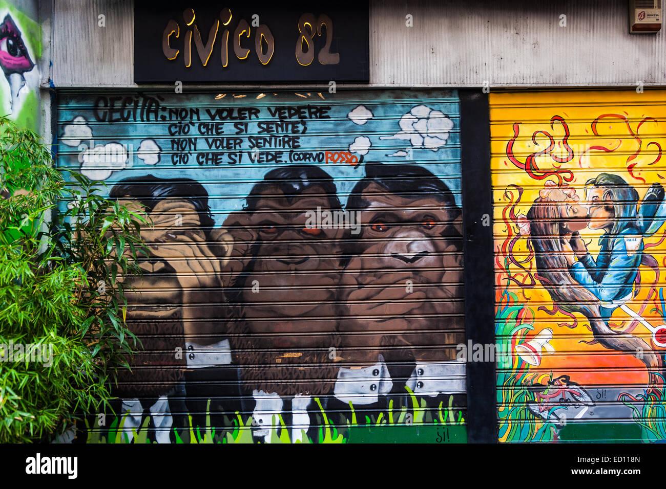 Hear no evil, see no evil, speak no evil on Porta Ticinese, Milan - Stock Image