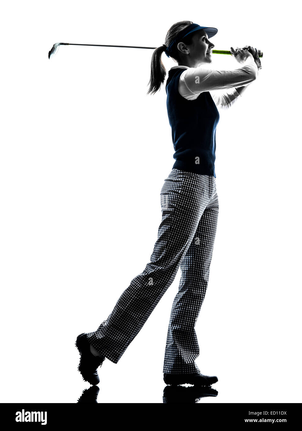 Woman Golfer Golfing Silhouette In White Background Stock Photo