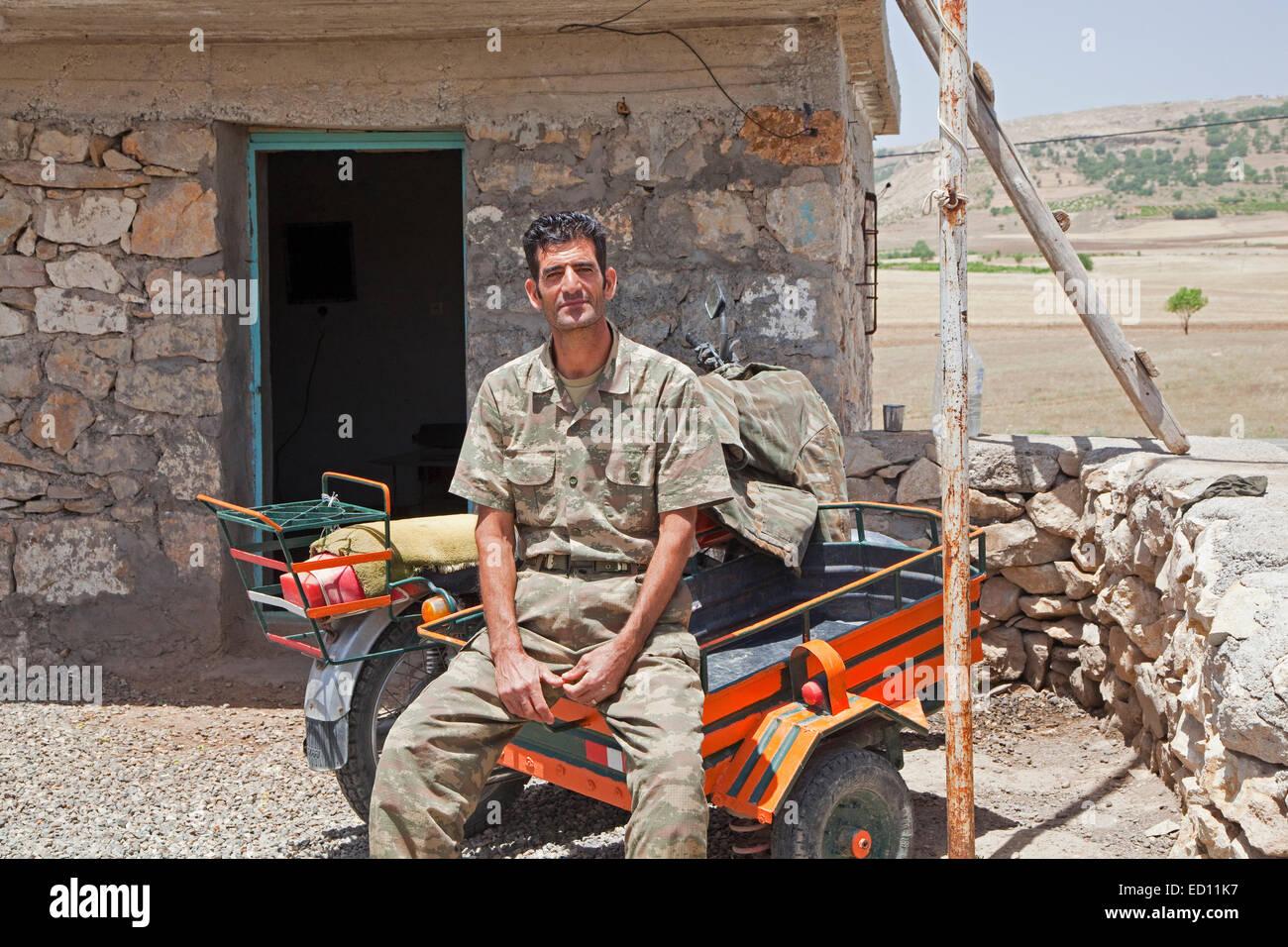 Soldier in Turkish Kurdistan, Turkey - Stock Image