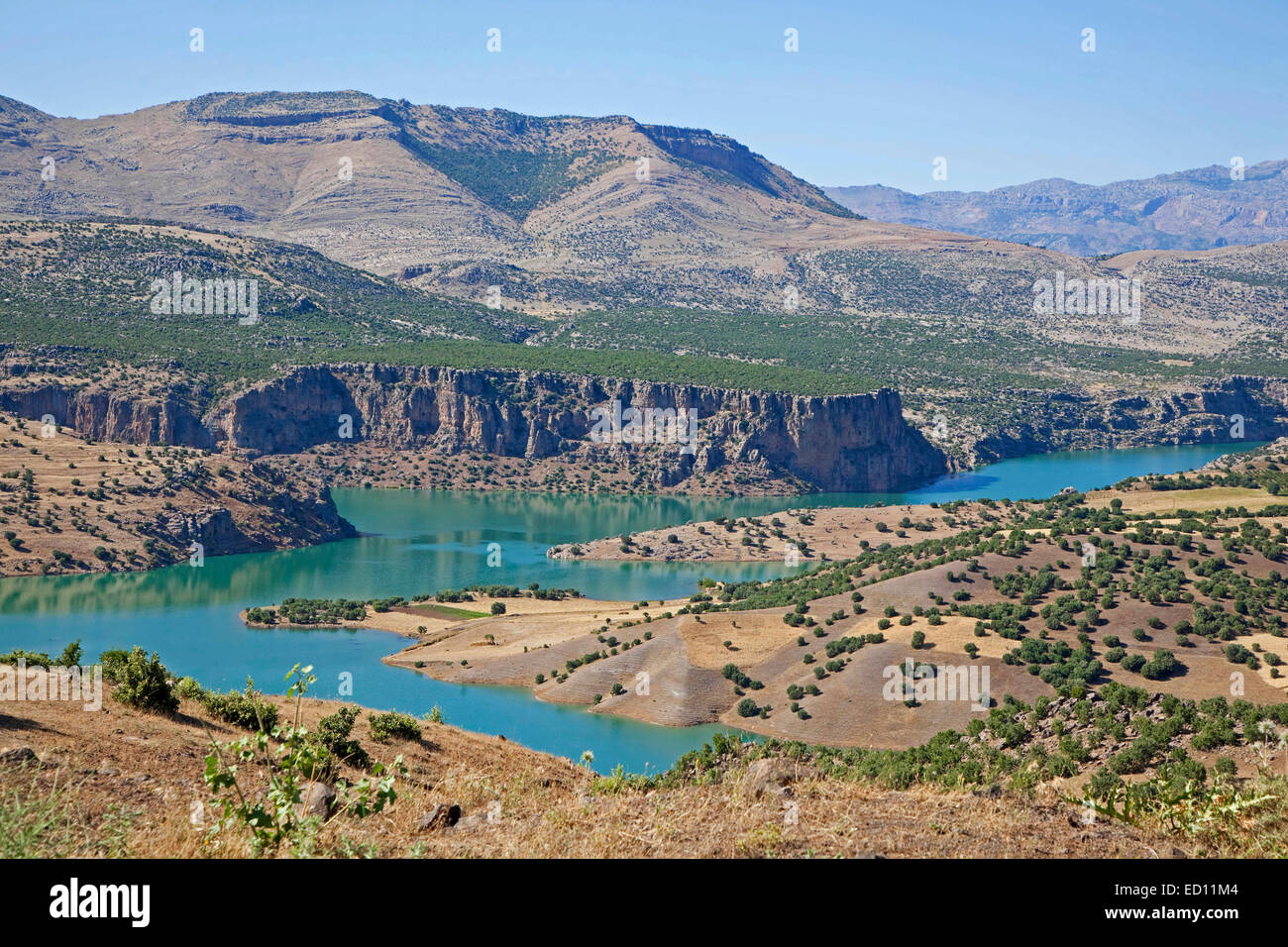 Euphrates, longest river of Western Asia in Eastern Turkey - Stock Image