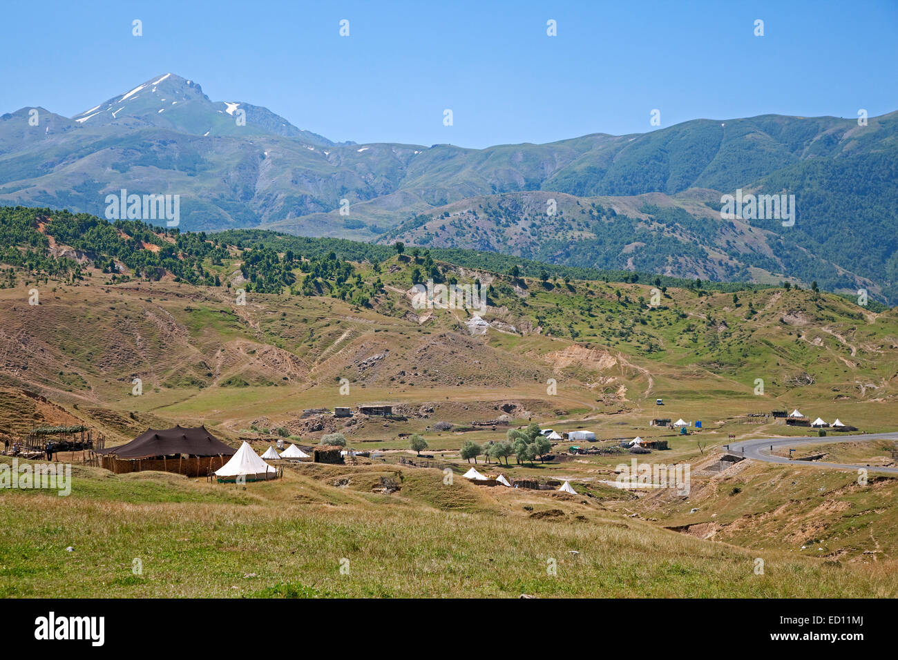 Tents in semi nomad settlement in the mountains of Eastern Anatolia, Turkey - Stock Image