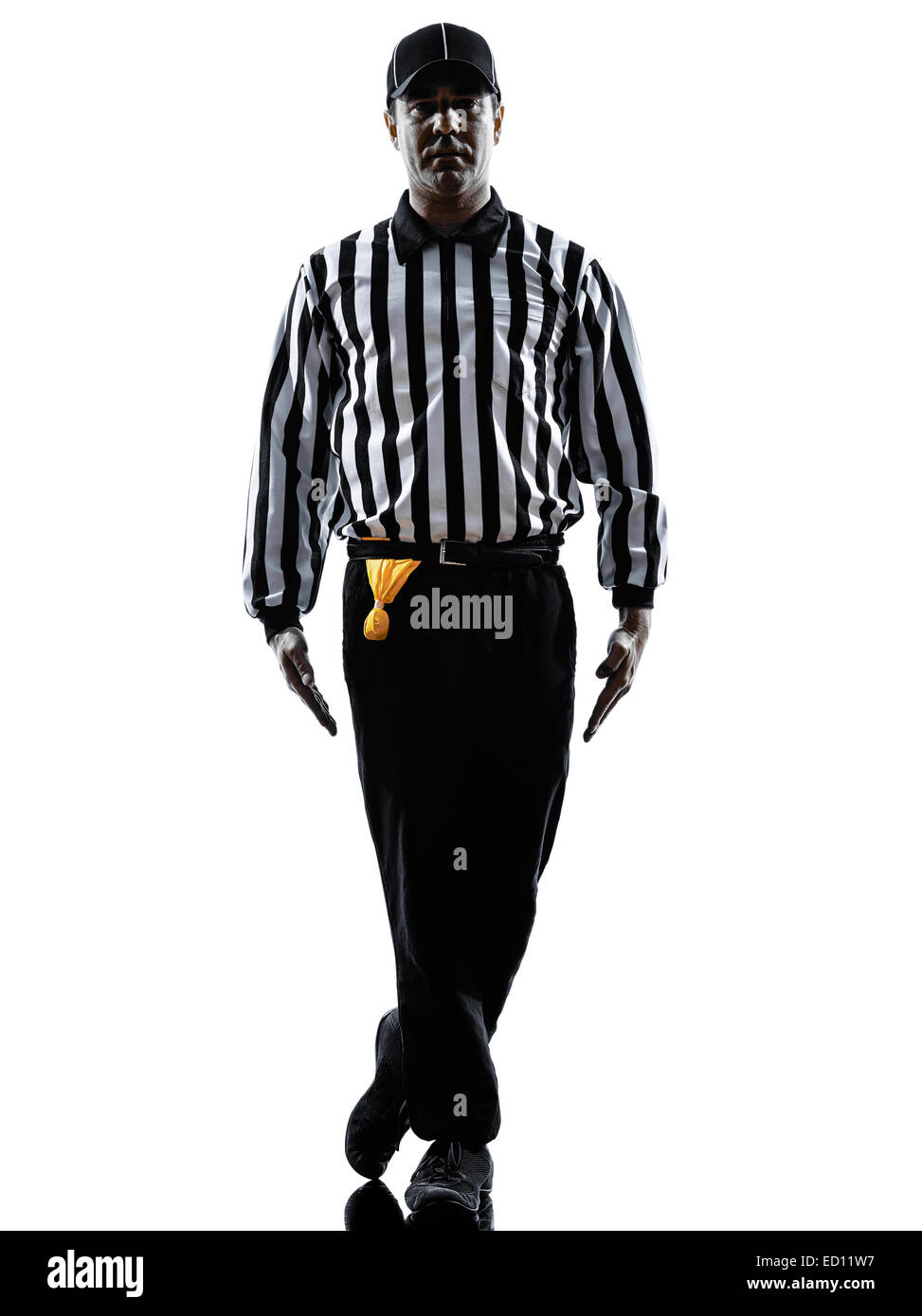 american football referee gestures tripping in silhouette on white background - Stock Image