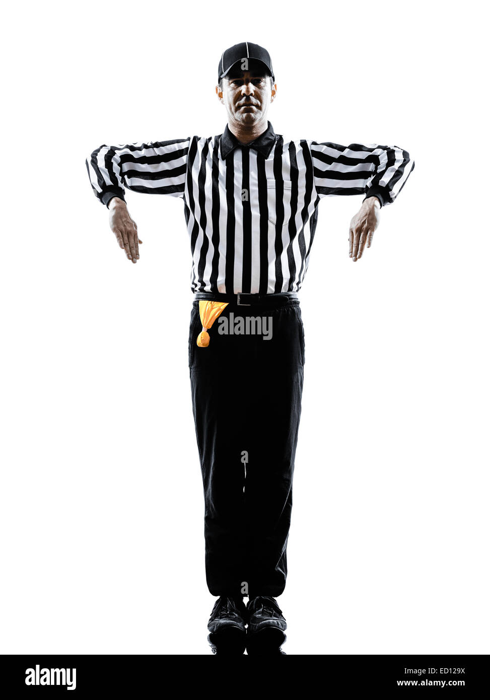 american football referee gestures illegal shift in silhouette on white background - Stock Image