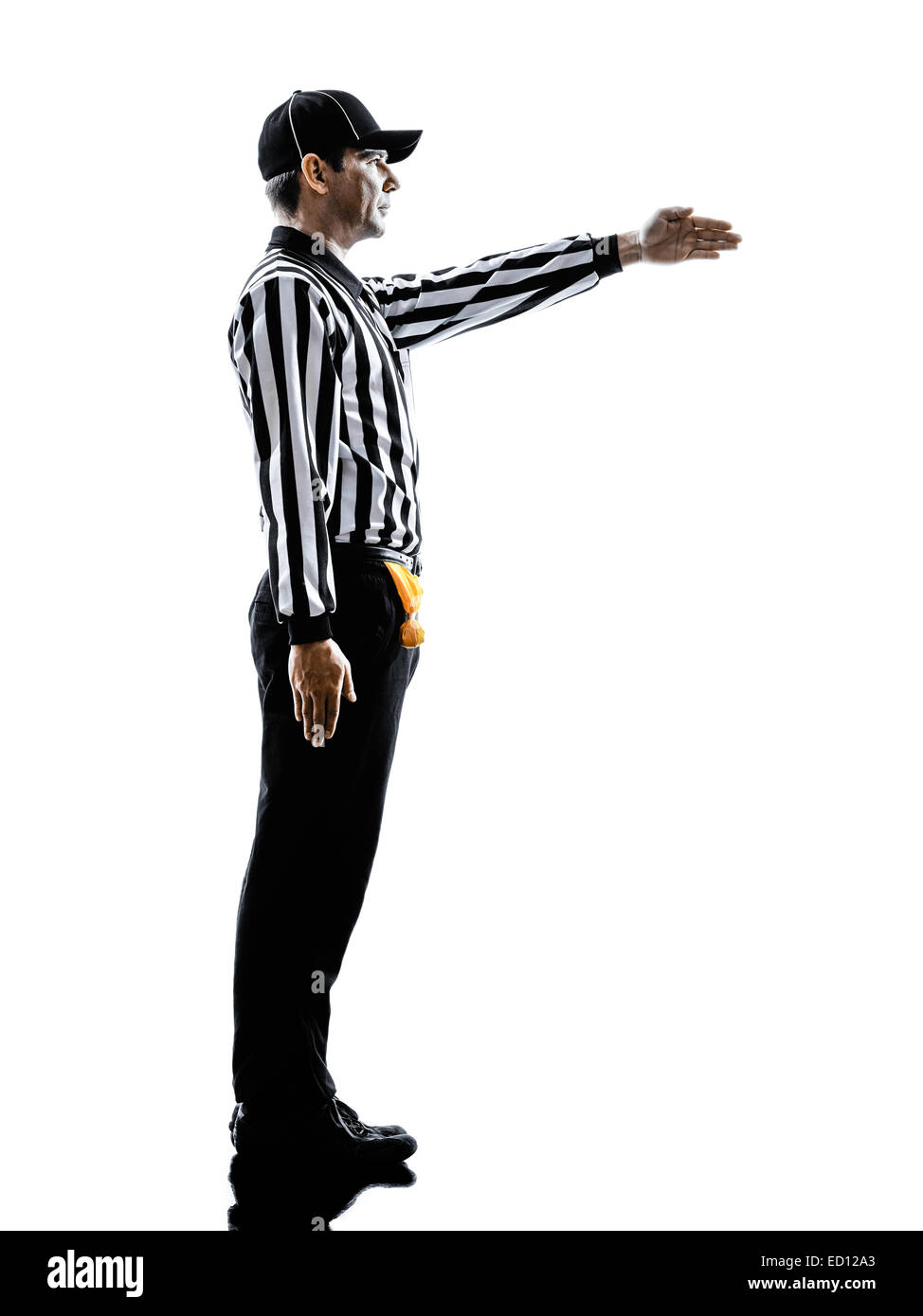 american football referee gestures first down in silhouette on white background - Stock Image