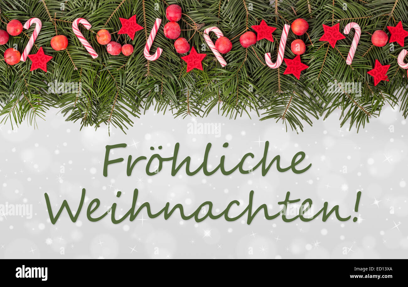 German christmas card white star stock photos german christmas german christmas card with pine green candy canes apples and text merry christmas m4hsunfo
