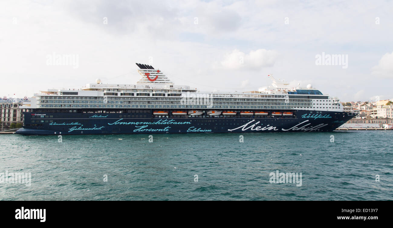 ISTANBUL, TURKEY - SEPTEMBER 05, 2014: Mein Schiff 2 Cruise Ship in Istanbul Port. Ship has 1,886 passenger capacity - Stock Image