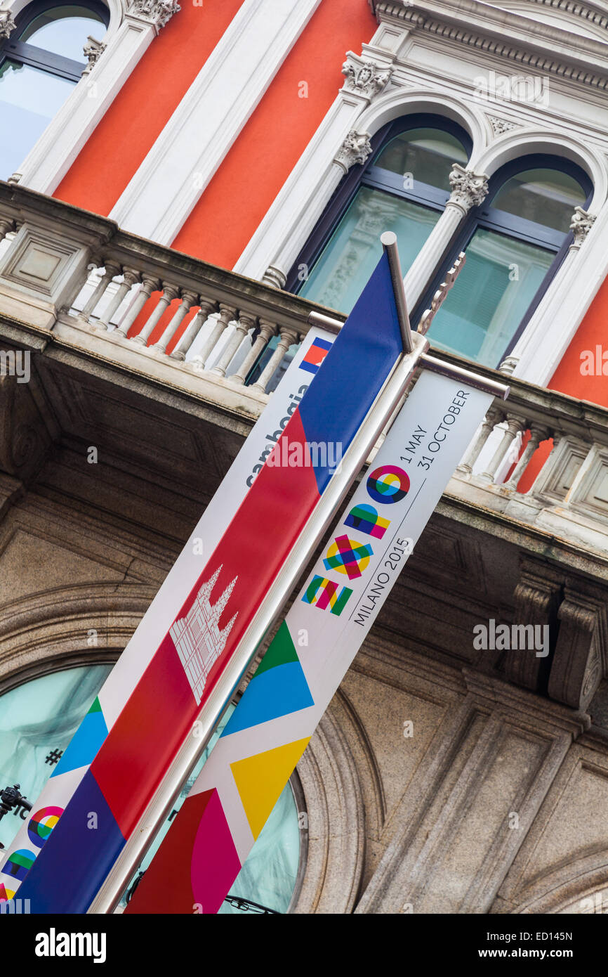 Street banners advertising Expo 2015 in Milano, Italy - Stock Image