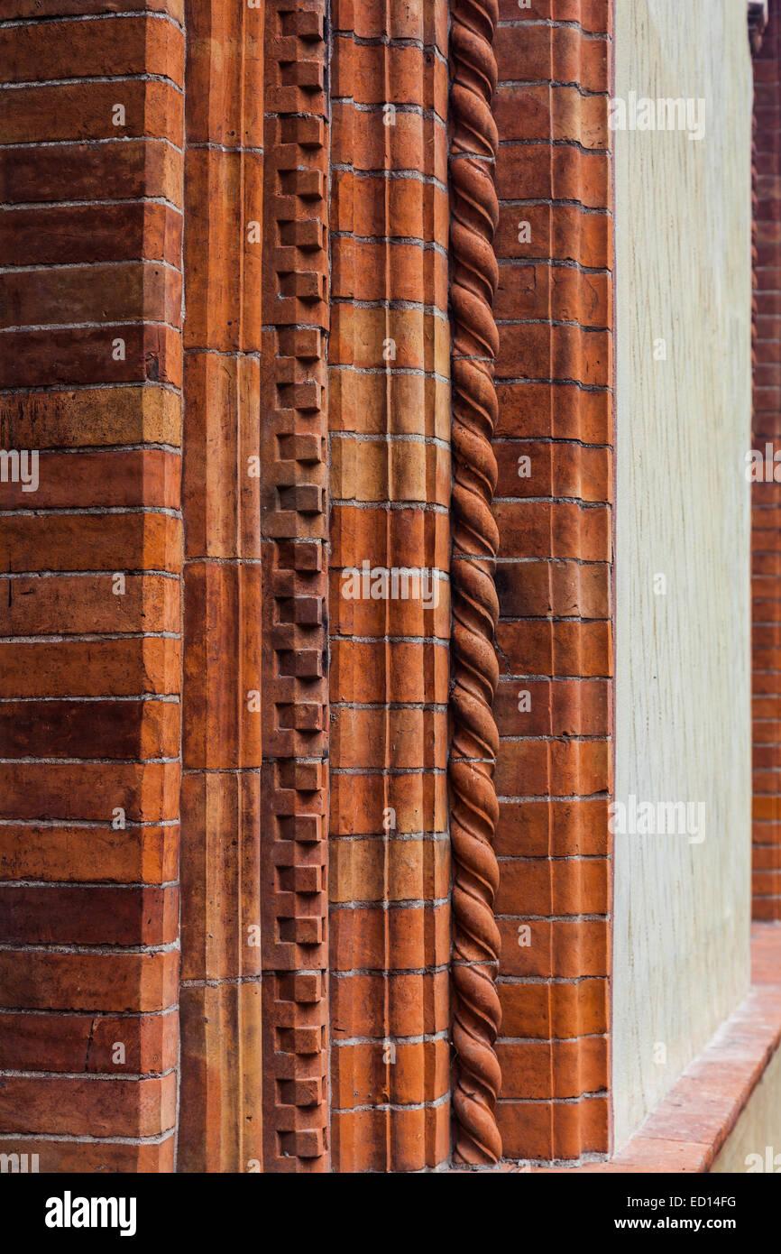 Decorative brickwork in the Castello Sforzesco, Milano, Italy Stock Photo