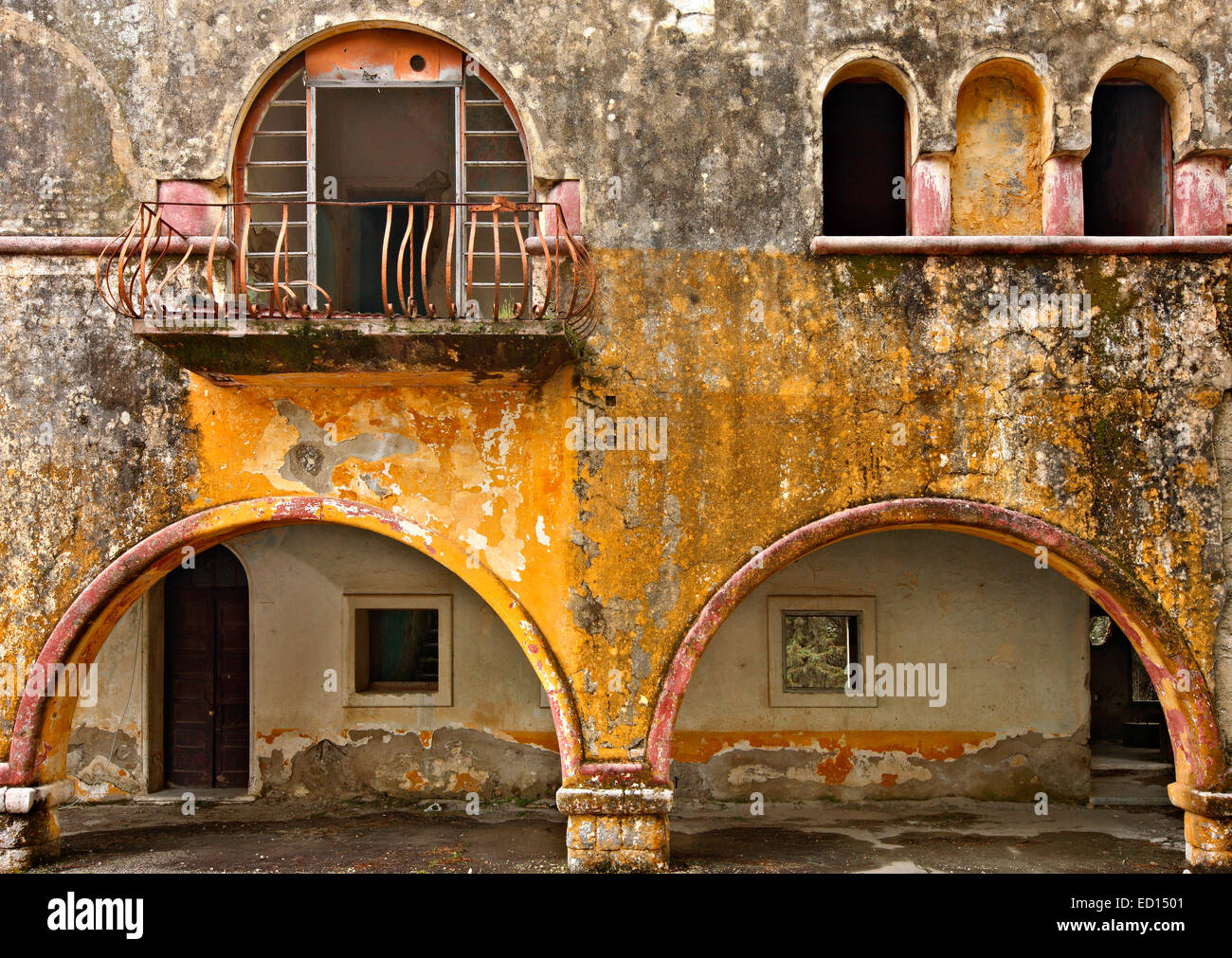 At the 'forgotten' village of Eleousa, known as one of the 'Italian' villages of Rhodes island, - Stock Image