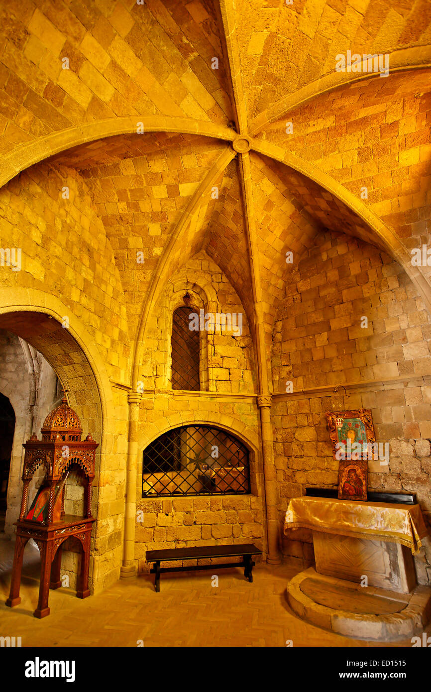 Inside view of the monastery of Filerimos, close to Trianta village, Rhodes island, Dodecanese, Greece. - Stock Image