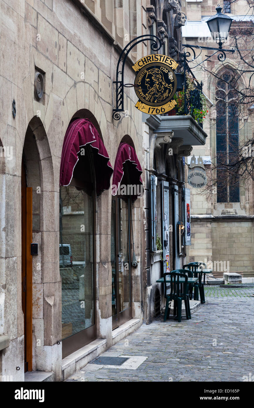 Christie's auction house in the Old Town of Geneva, Switzerland - Stock Image